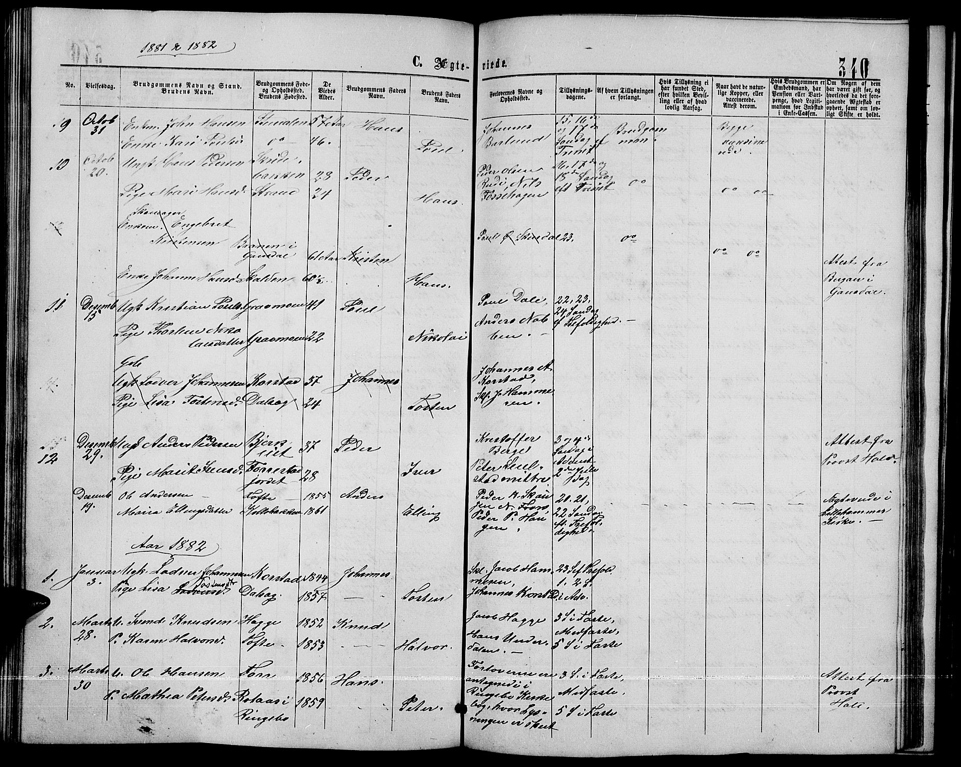 SAH, Sør-Fron prestekontor, H/Ha/Hab/L0002: Klokkerbok nr. 2, 1864-1883, s. 340