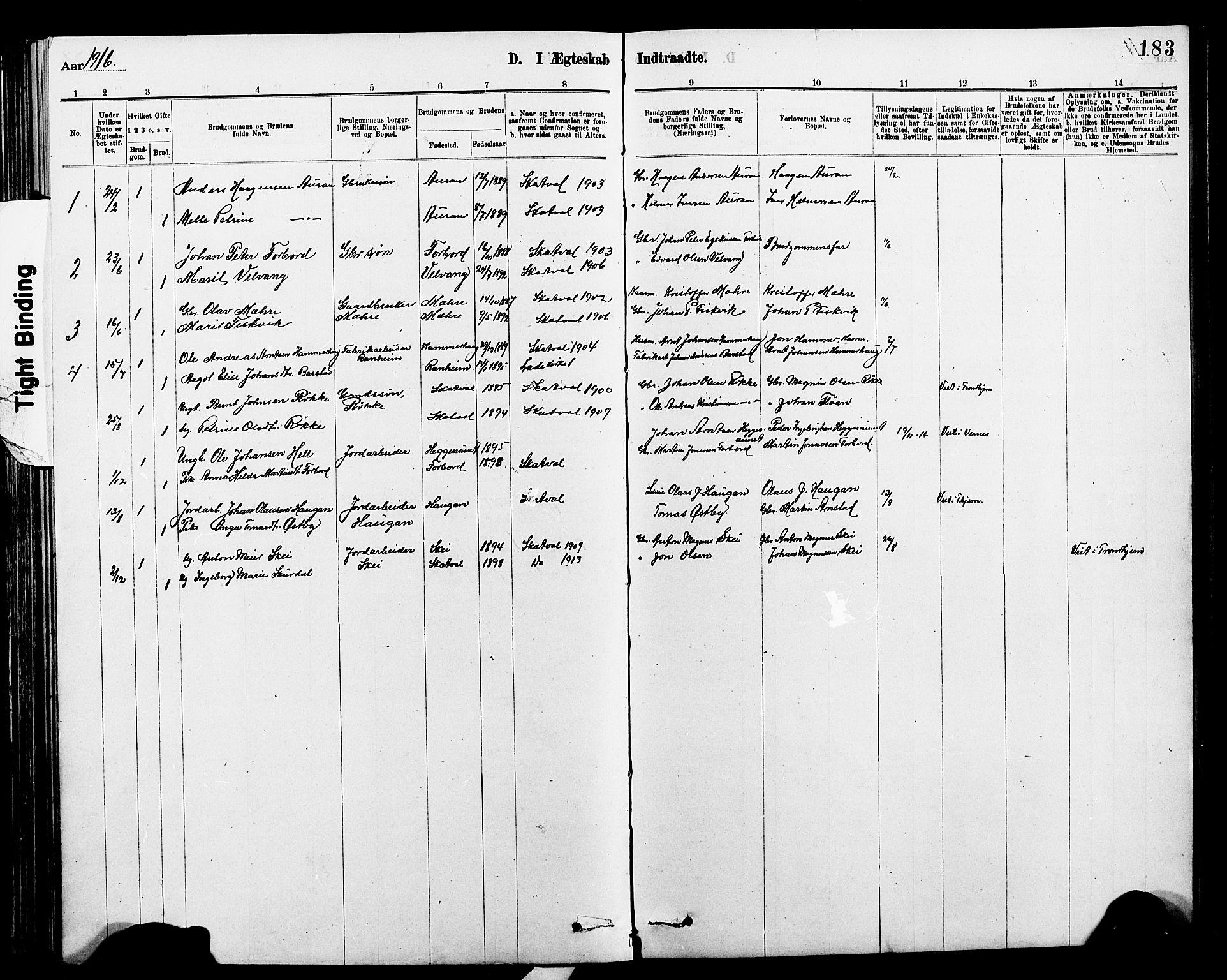 SAT, Ministerialprotokoller, klokkerbøker og fødselsregistre - Nord-Trøndelag, 712/L0103: Klokkerbok nr. 712C01, 1878-1917, s. 183