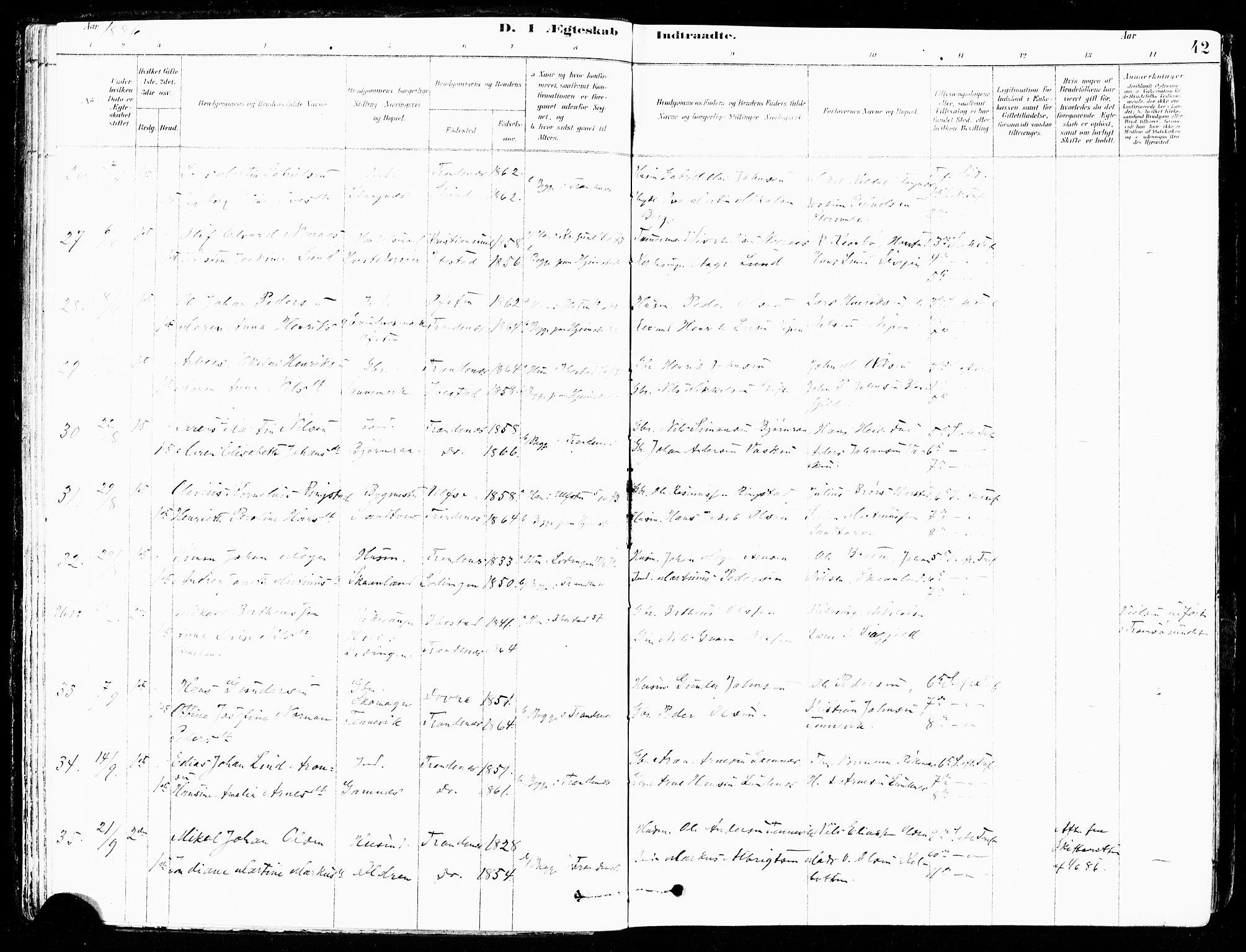 SATØ, Trondenes sokneprestkontor, H/Ha/L0015kirke: Ministerialbok nr. 15, 1878-1889, s. 42