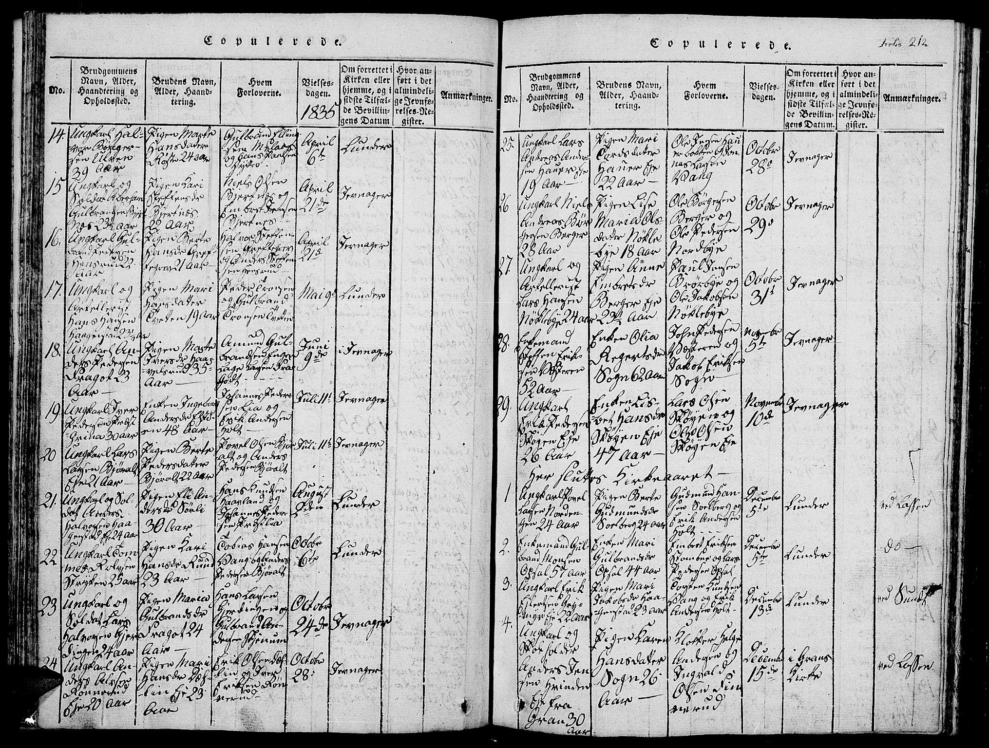 SAH, Jevnaker prestekontor, Klokkerbok nr. 1, 1815-1837, s. 212