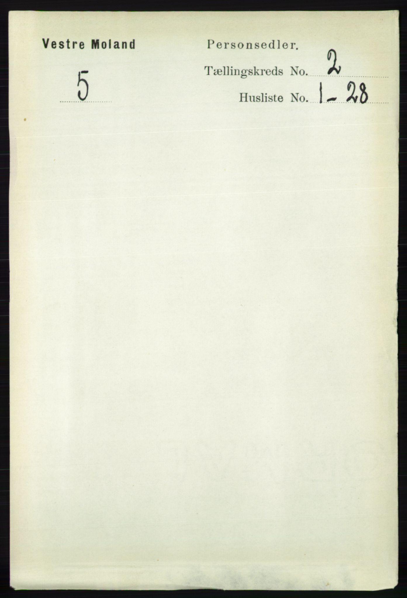 RA, Folketelling 1891 for 0926 Vestre Moland herred, 1891, s. 626