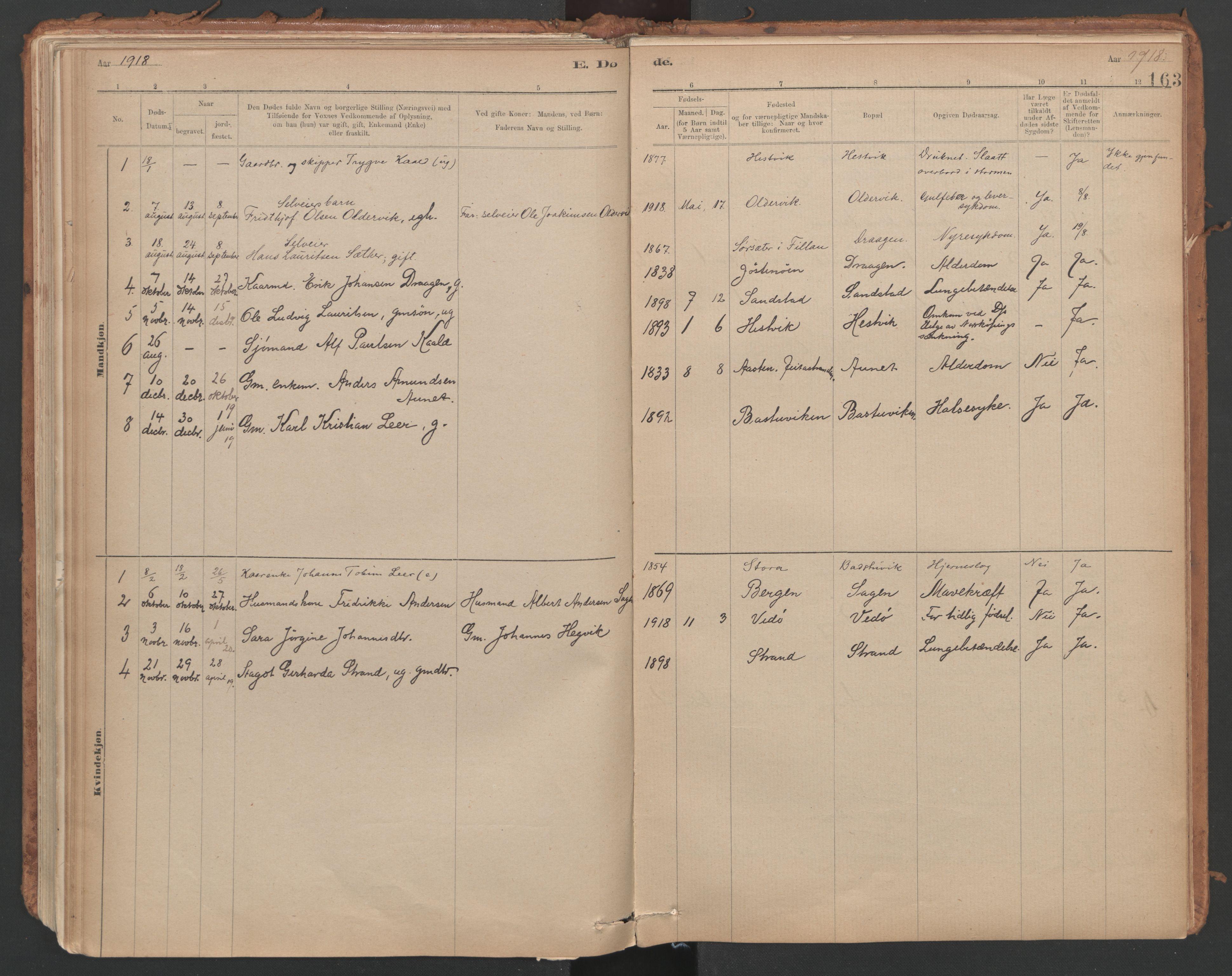 SAT, Ministerialprotokoller, klokkerbøker og fødselsregistre - Sør-Trøndelag, 639/L0572: Ministerialbok nr. 639A01, 1890-1920, s. 163