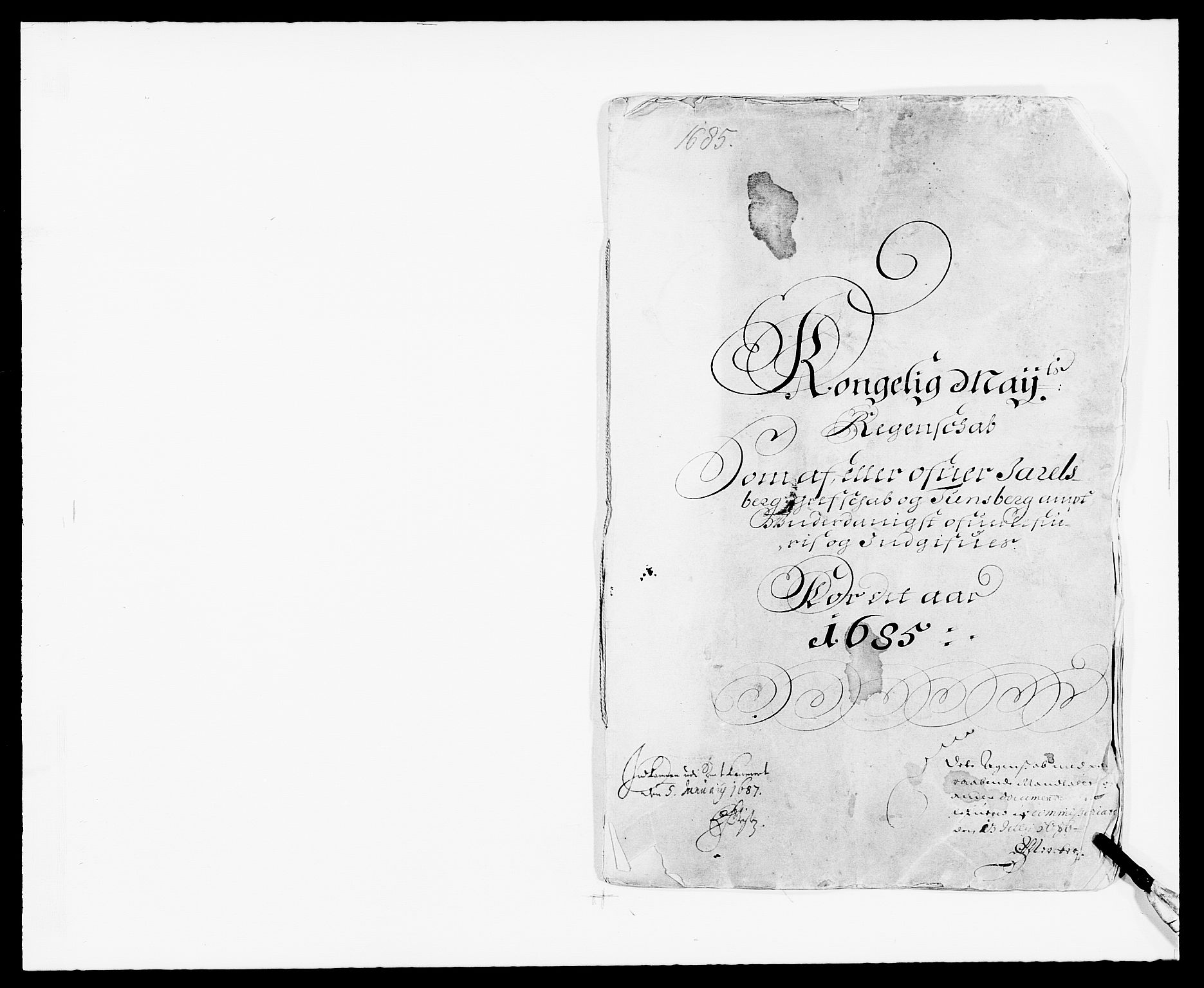 RA, Rentekammeret inntil 1814, Reviderte regnskaper, Fogderegnskap, R32/L1856: Fogderegnskap Jarlsberg grevskap, 1685, s. 1