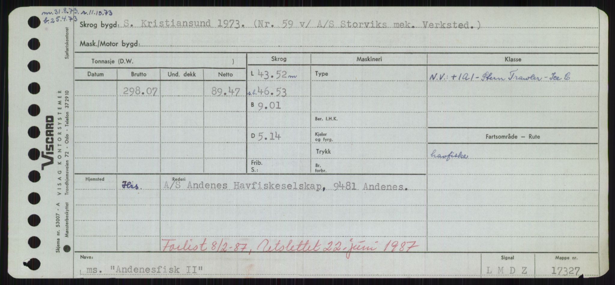 RA, Sjøfartsdirektoratet med forløpere, Skipsmålingen, H/Hd/L0001: Fartøy, A-Anv, s. 535