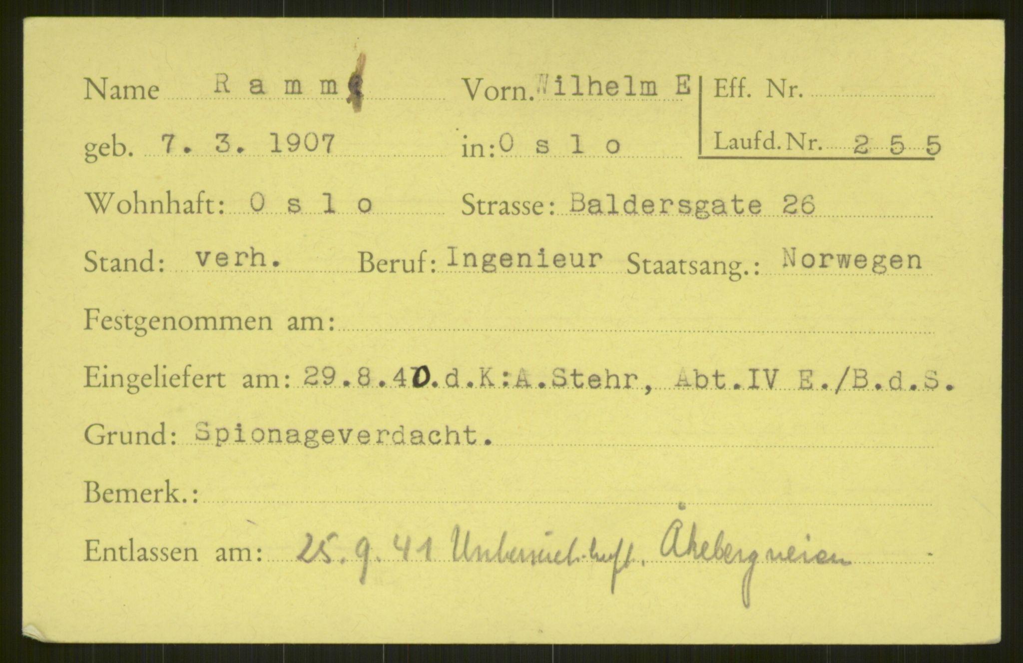RA, Befehlshaber der Sicherheitspolizei und des SD, E/Ea/Eab/L0001: Register over norske fanger i Møllergata 19 ordnet etter fangenummer: 1-2049, 1940-1945