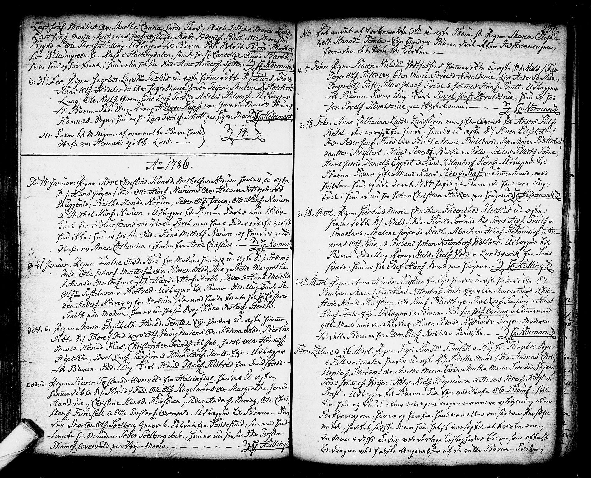 SAKO, Kongsberg kirkebøker, F/Fa/L0006: Ministerialbok nr. I 6, 1783-1797, s. 233