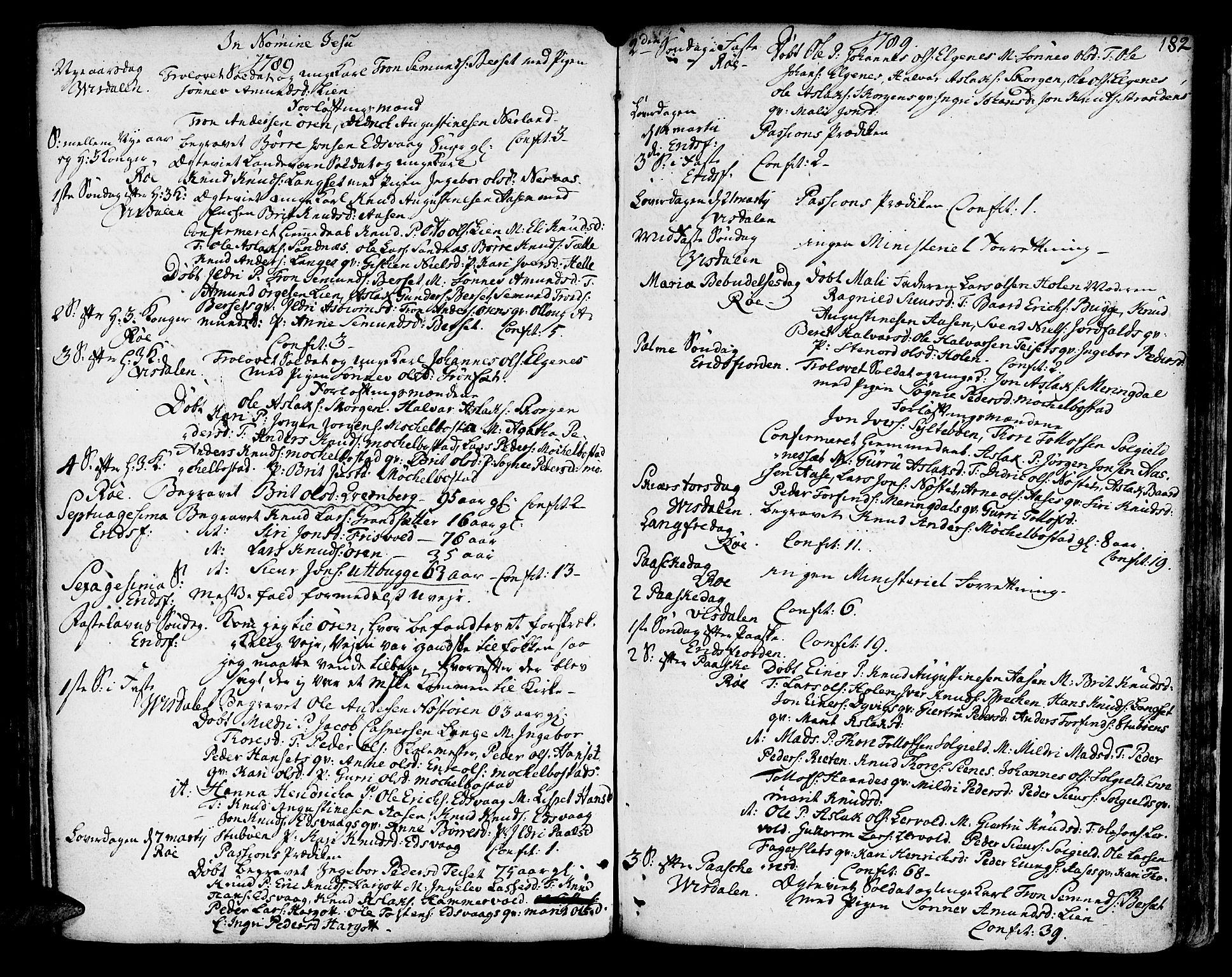 SAT, Ministerialprotokoller, klokkerbøker og fødselsregistre - Møre og Romsdal, 551/L0621: Ministerialbok nr. 551A01, 1757-1803, s. 182