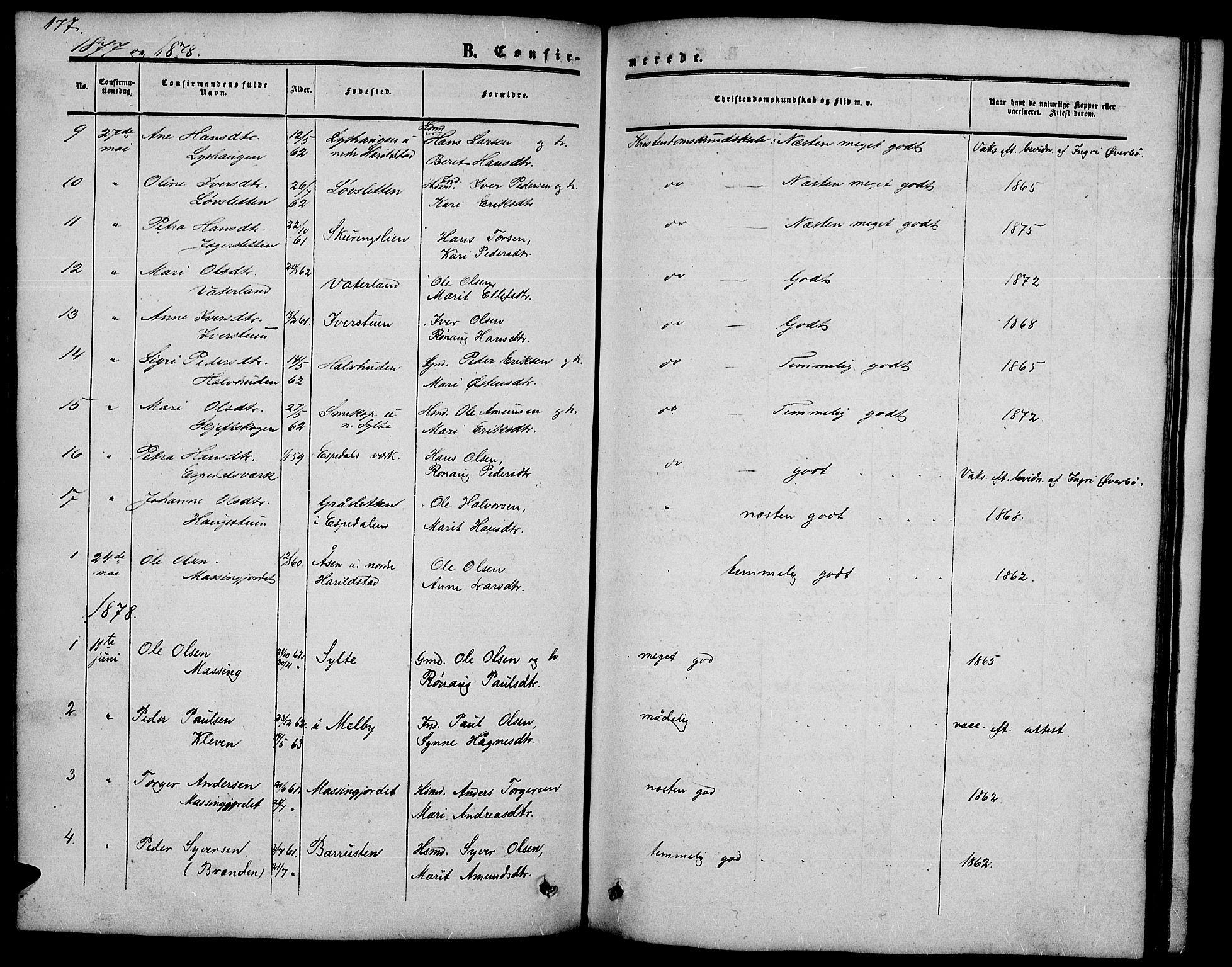 SAH, Nord-Fron prestekontor, Klokkerbok nr. 2, 1851-1883, s. 177