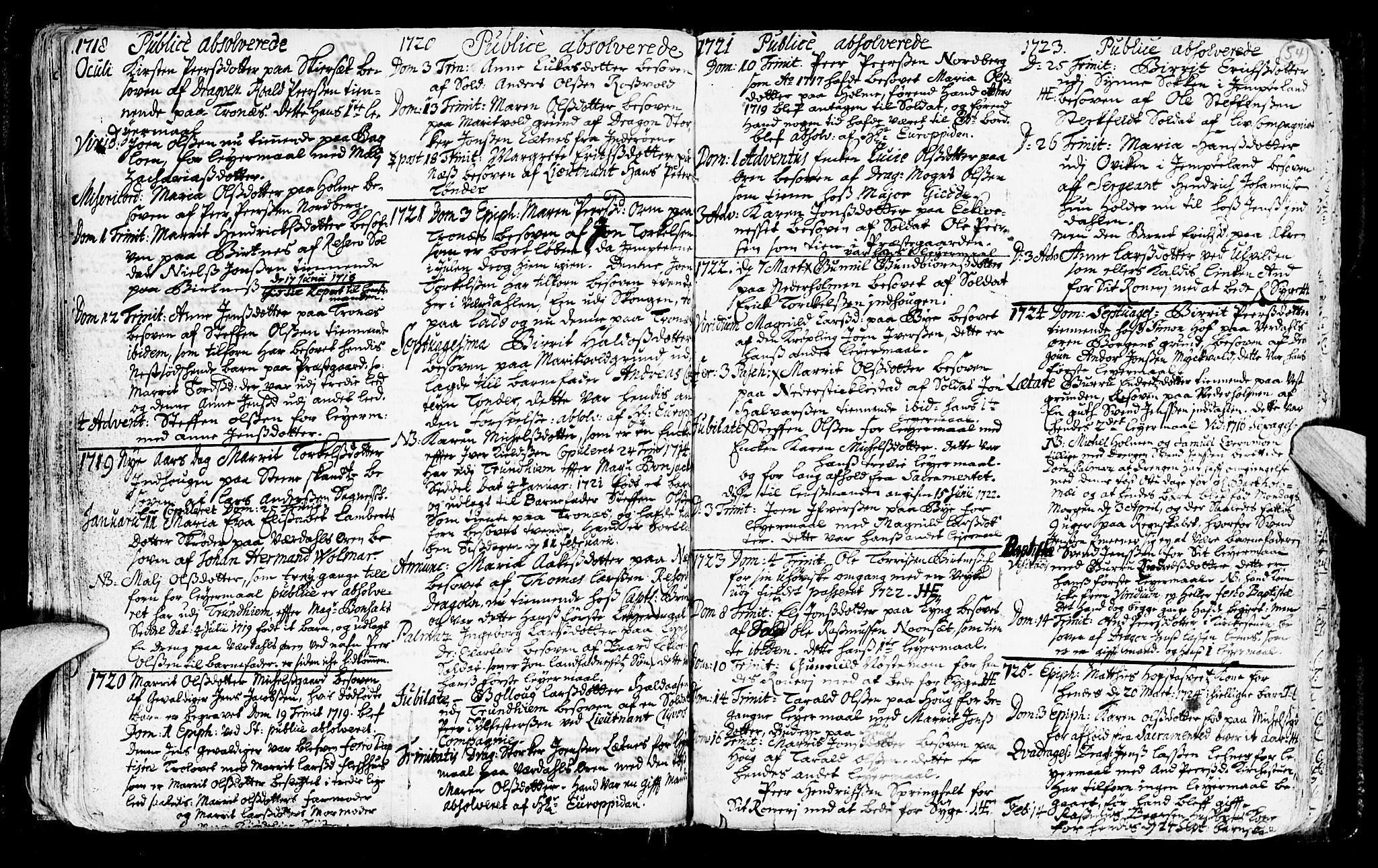 SAT, Ministerialprotokoller, klokkerbøker og fødselsregistre - Nord-Trøndelag, 723/L0230: Ministerialbok nr. 723A01, 1705-1747, s. 54