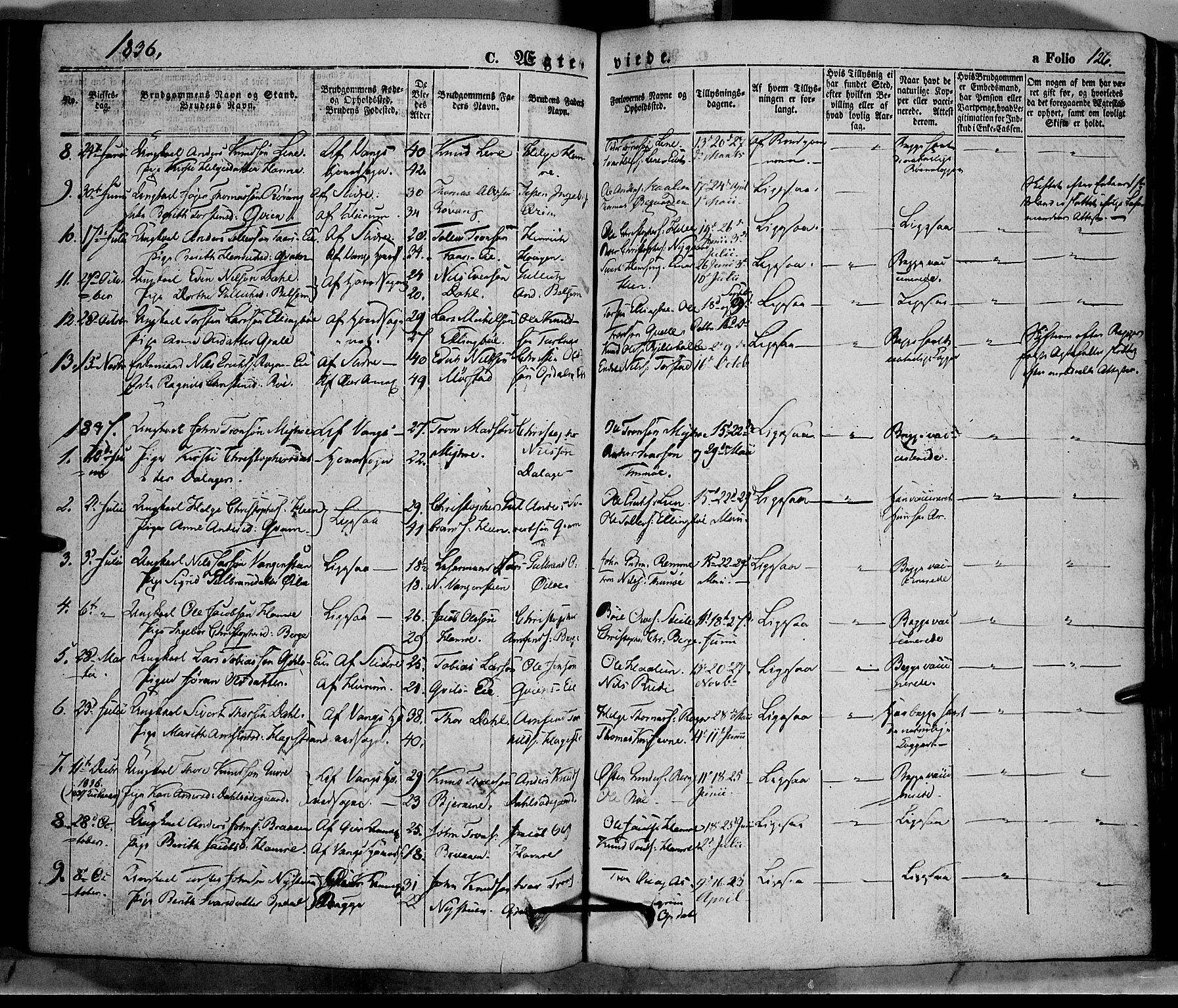 SAH, Vang prestekontor, Valdres, Ministerialbok nr. 5, 1831-1845, s. 126
