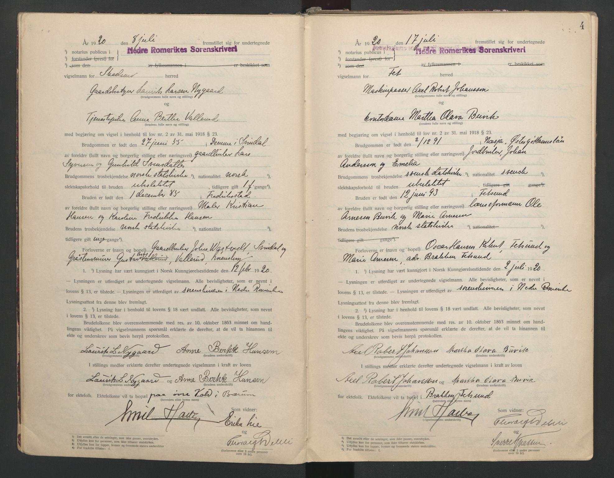 SAO, Nedre Romerike sorenskriveri, L/Lb/L0001: Vigselsbok - borgerlige vielser, 1920-1935, s. 4
