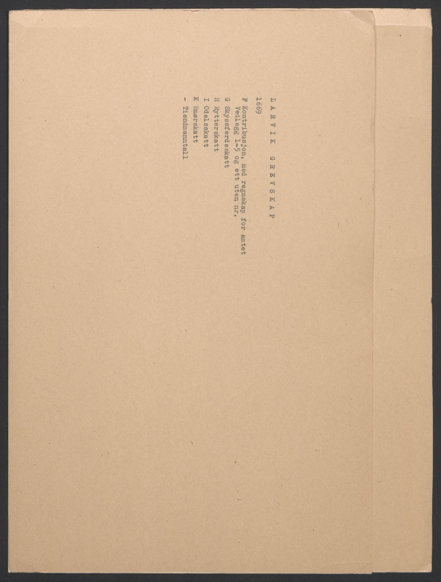RA, Rentekammeret inntil 1814, Reviderte regnskaper, Fogderegnskap, R33/L1965: Fogderegnskap Larvik grevskap, 1669-1670, s. 2