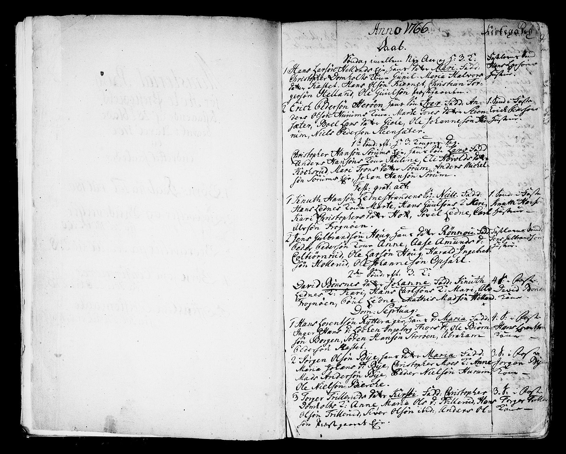 SAKO, Hole kirkebøker, F/Fa/L0002: Ministerialbok nr. I 2, 1766-1814, s. 1