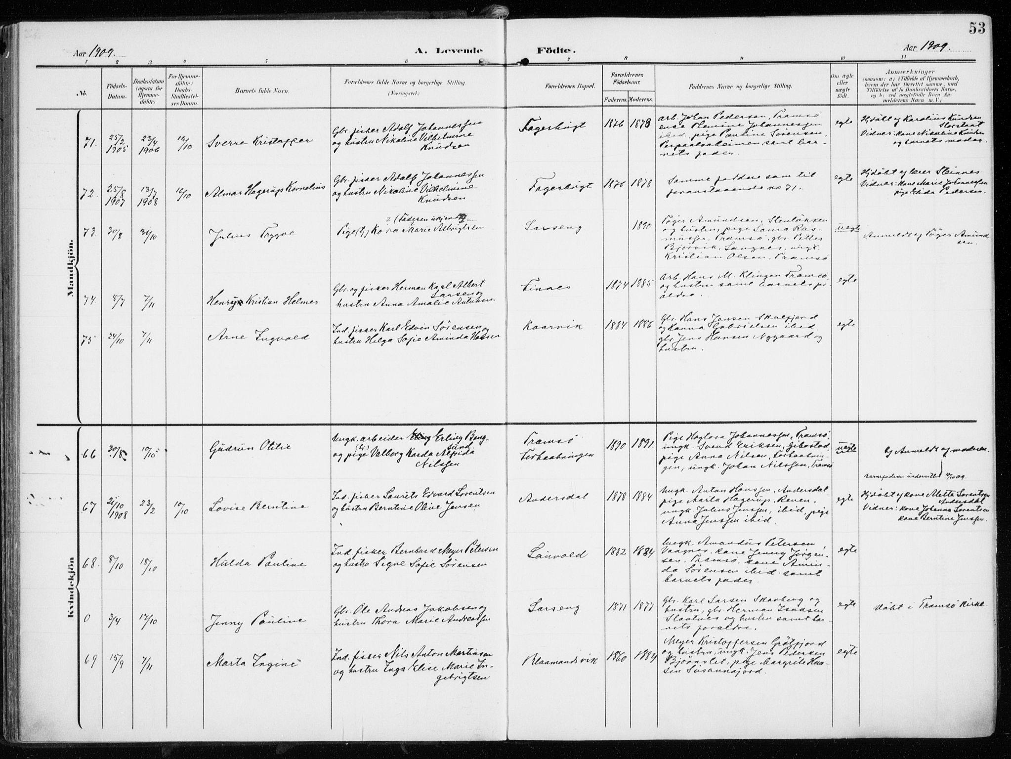 SATØ, Tromsøysund sokneprestkontor, G/Ga/L0007kirke: Ministerialbok nr. 7, 1907-1914, s. 53