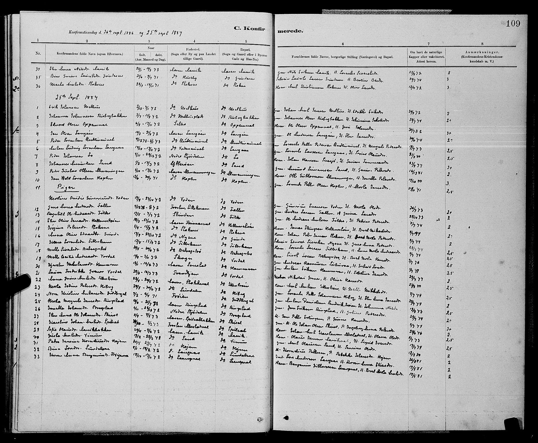SAT, Ministerialprotokoller, klokkerbøker og fødselsregistre - Nord-Trøndelag, 714/L0134: Klokkerbok nr. 714C03, 1878-1898, s. 109
