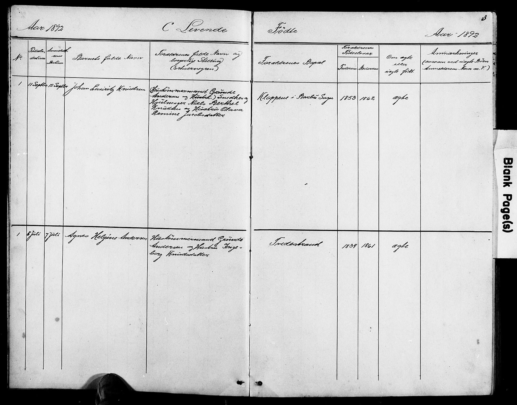 SAK, Baptistmenigheten i Tvedestrand, F/Fa/L0002: Dissenterprotokoll nr. F 1, 1892-1895, s. 3