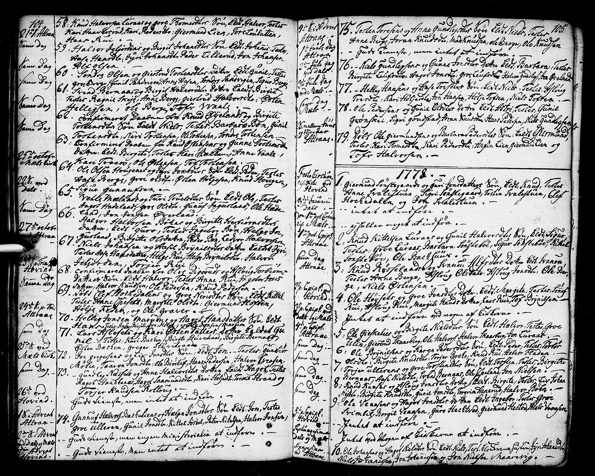 SAKO, Tinn kirkebøker, F/Fa/L0002: Ministerialbok nr. I 2, 1757-1810, s. 104-105