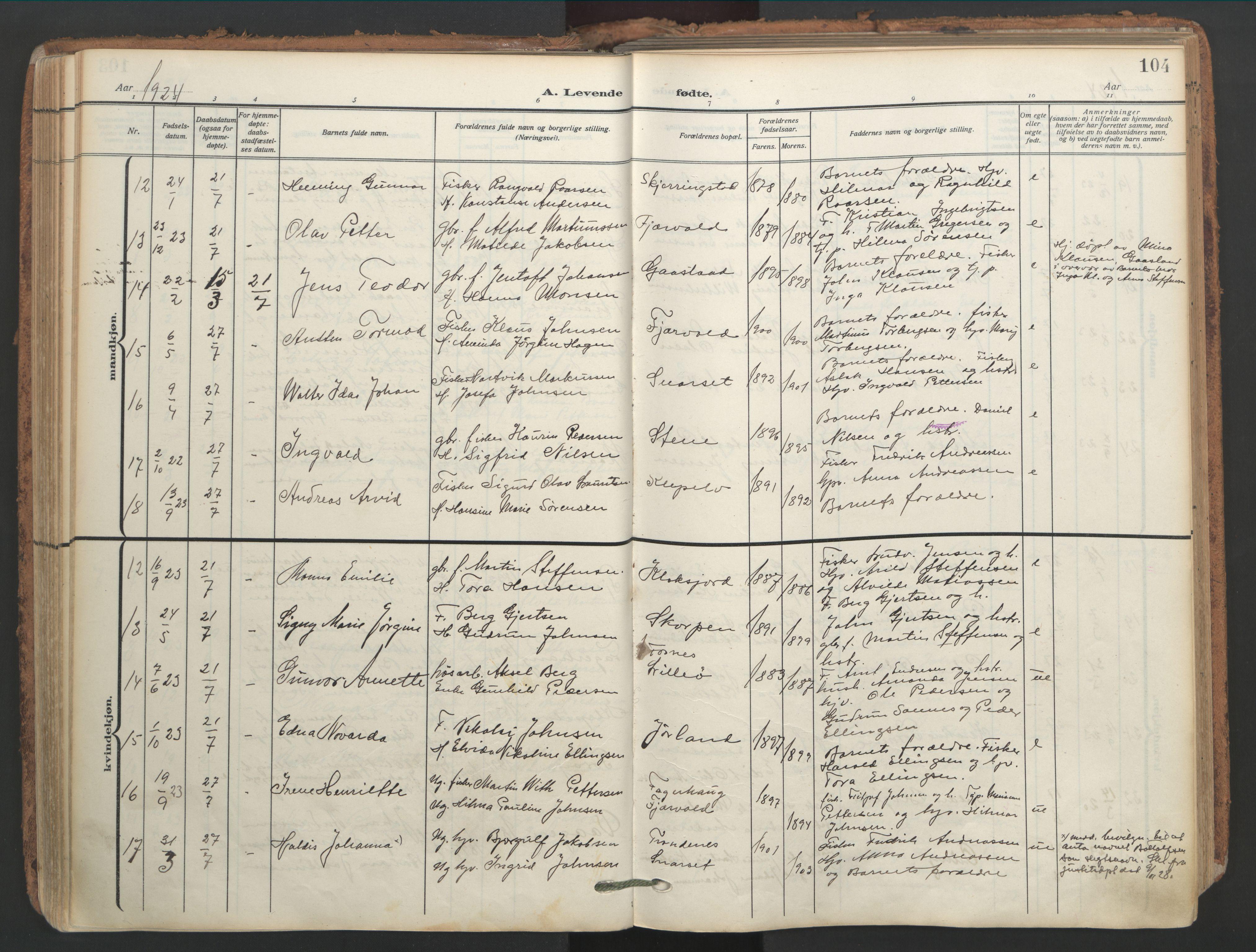 SAT, Ministerialprotokoller, klokkerbøker og fødselsregistre - Nordland, 891/L1306: Ministerialbok nr. 891A11, 1911-1927, s. 104