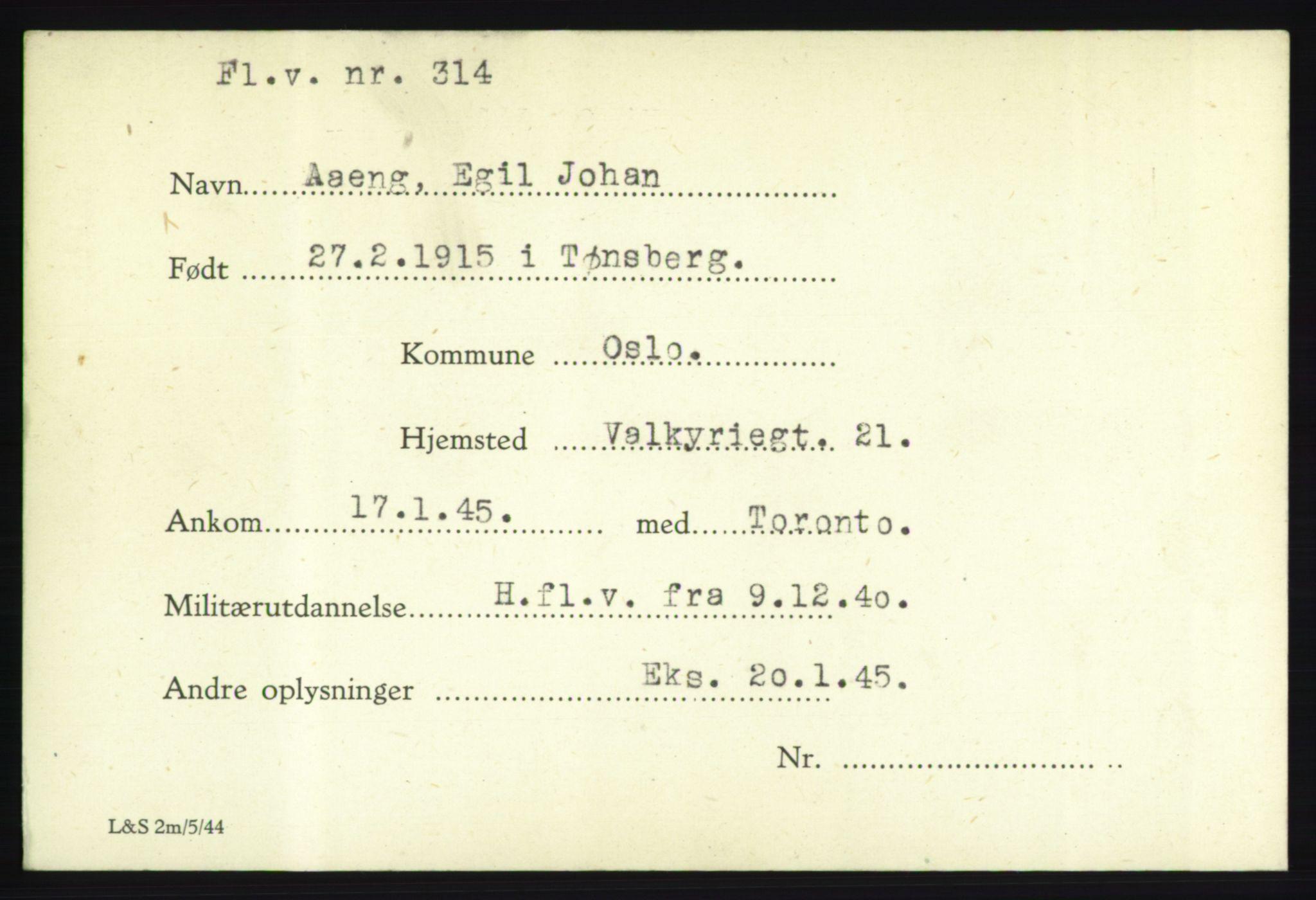 NHM, Forsvarets Overkommando. 2. kontor. Arkiv 8.1. Mottakersentralen FDE og FO.II, P/Pa/L0001: Kortsamling, 1940-1945, s. 2