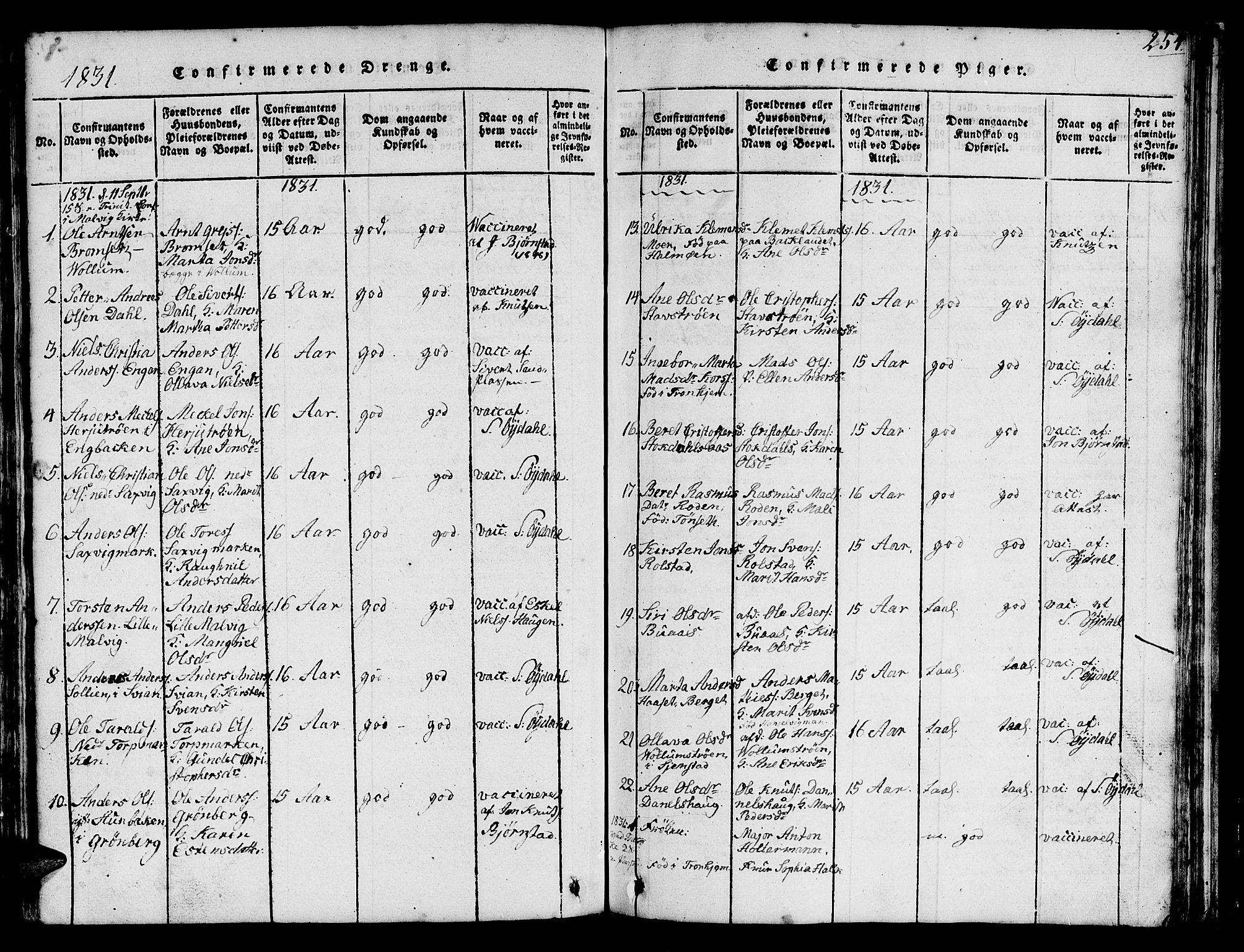 SAT, Ministerialprotokoller, klokkerbøker og fødselsregistre - Sør-Trøndelag, 616/L0420: Klokkerbok nr. 616C03, 1817-1835, s. 254