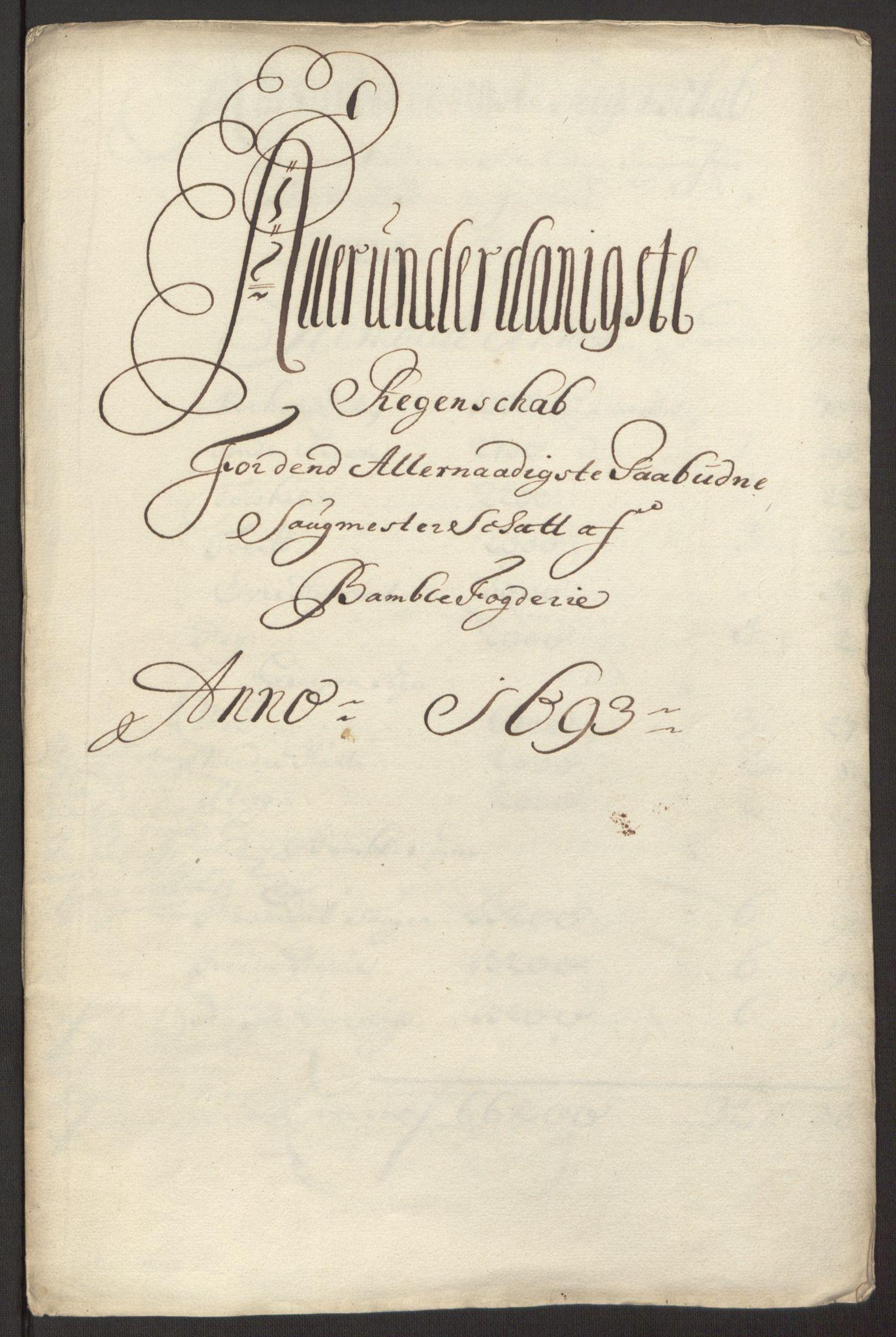 RA, Rentekammeret inntil 1814, Reviderte regnskaper, Fogderegnskap, R34/L2052: Fogderegnskap Bamble, 1692-1693, s. 315