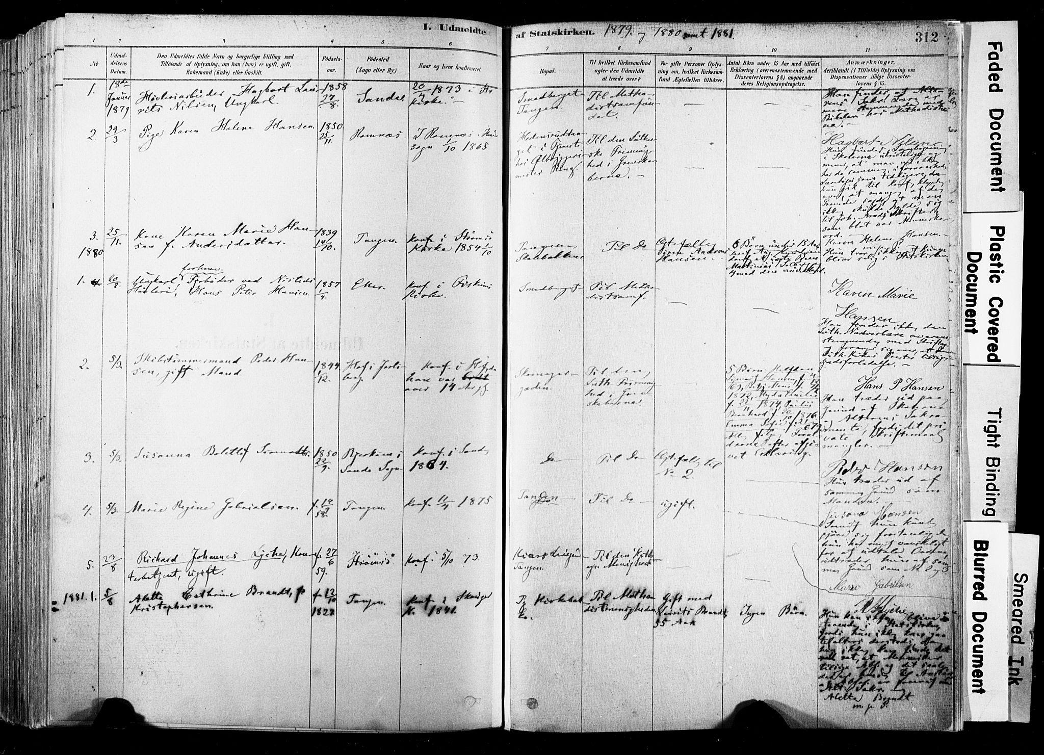 SAKO, Strømsø kirkebøker, F/Fb/L0006: Ministerialbok nr. II 6, 1879-1910, s. 312