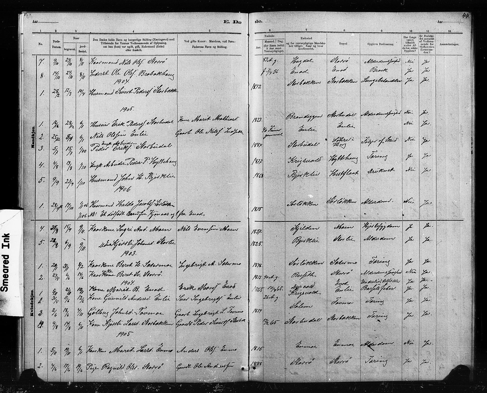 SAT, Ministerialprotokoller, klokkerbøker og fødselsregistre - Sør-Trøndelag, 690/L1051: Klokkerbok nr. 690C01, 1887-1908, s. 44