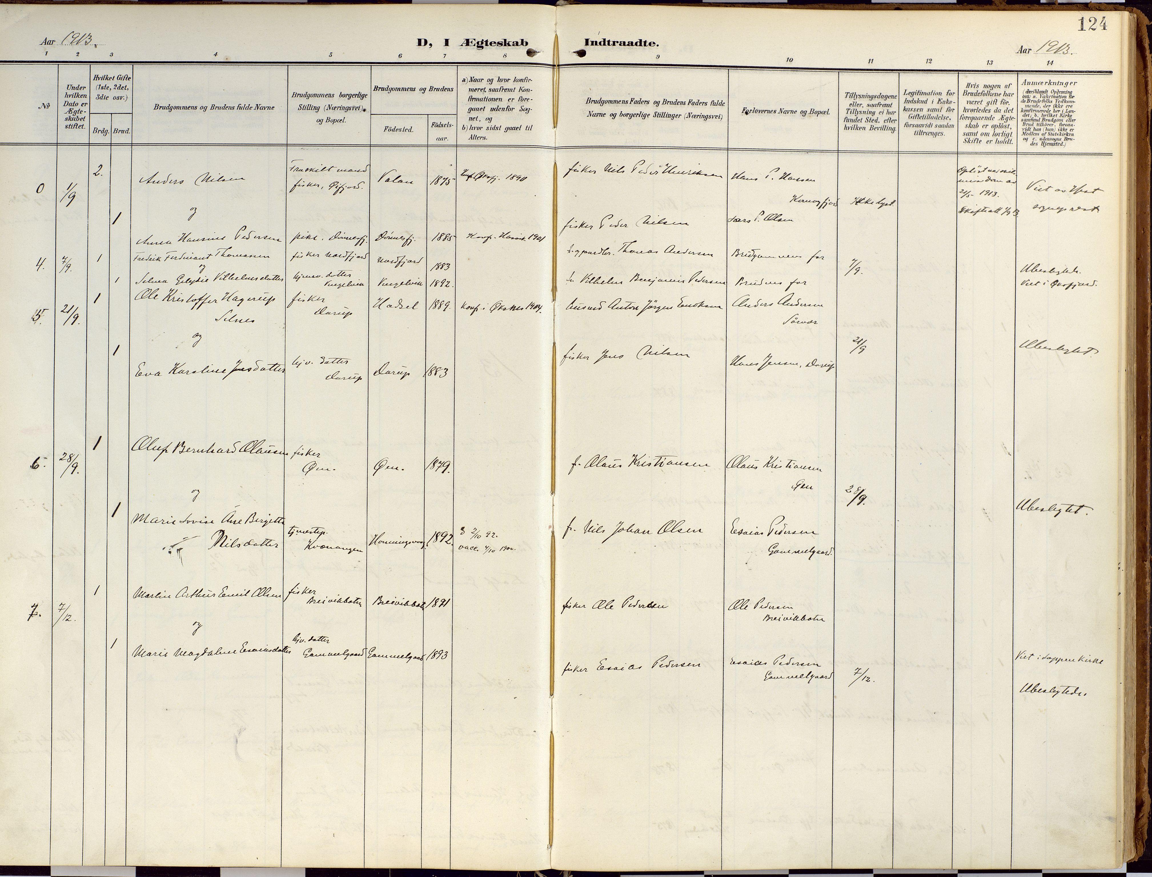 SATØ, Loppa sokneprestkontor, H/Ha/L0010kirke: Ministerialbok nr. 10, 1907-1922, s. 124