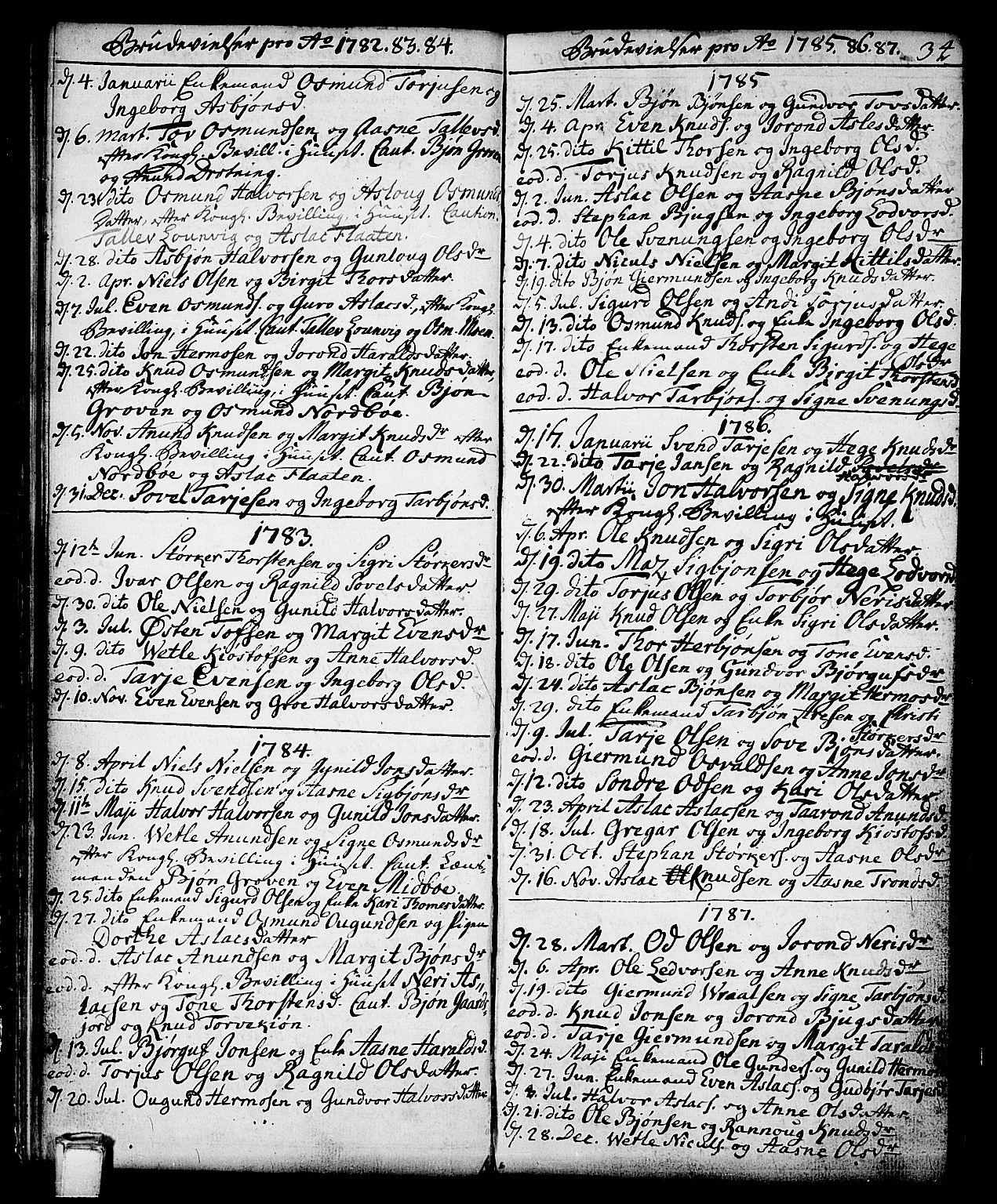 SAKO, Vinje kirkebøker, F/Fa/L0002: Ministerialbok nr. I 2, 1767-1814, s. 34