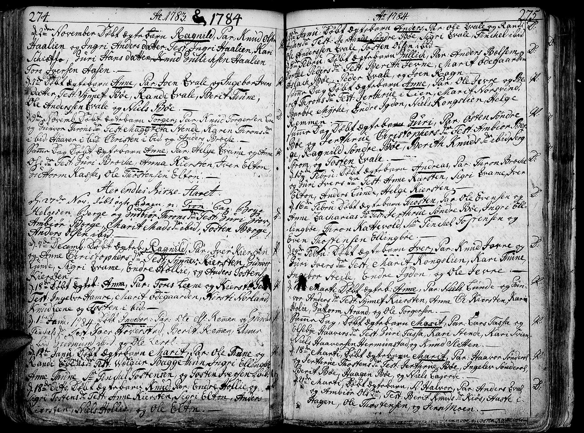 SAH, Vang prestekontor, Valdres, Ministerialbok nr. 1, 1730-1796, s. 274-275