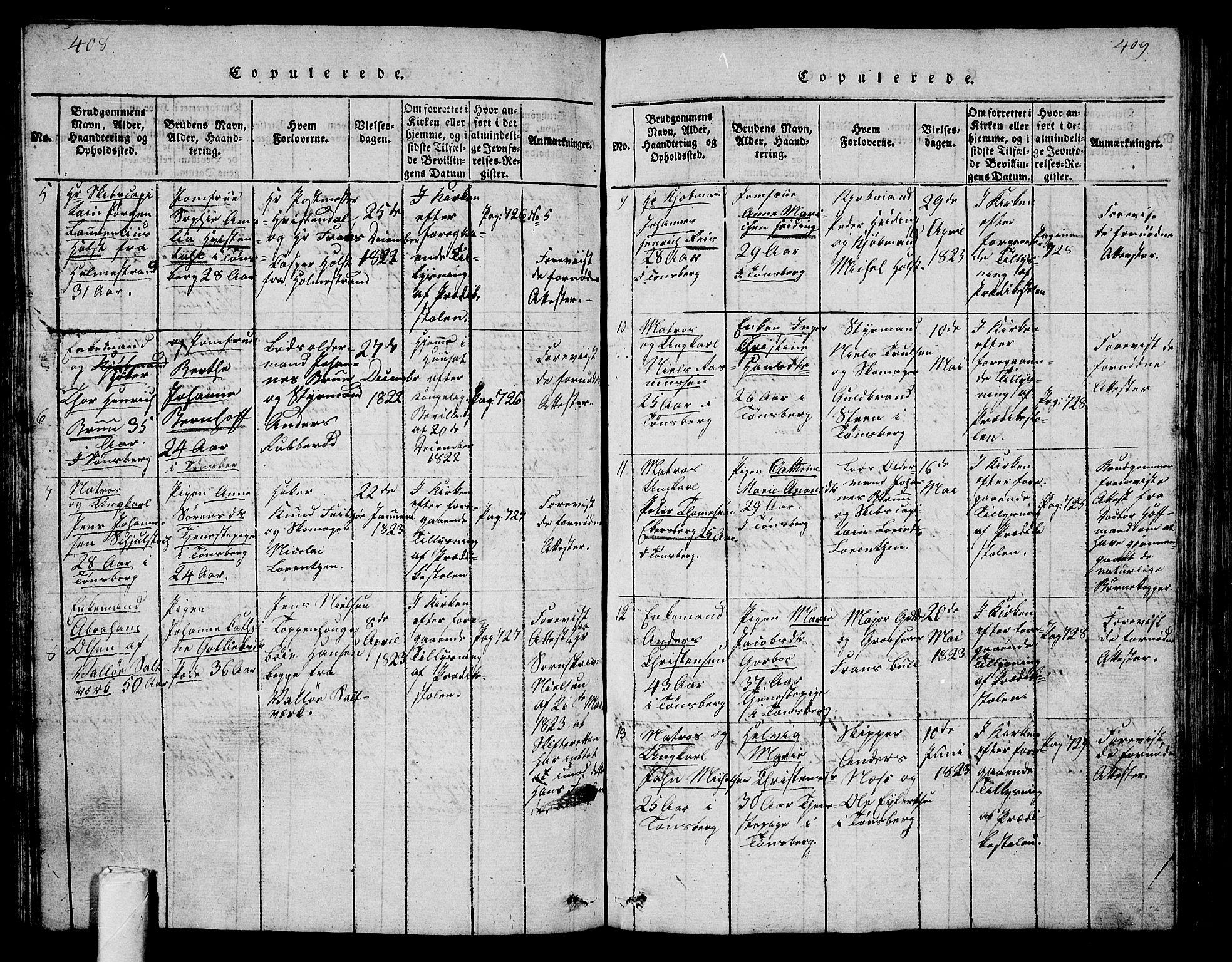 SAKO, Tønsberg kirkebøker, G/Ga/L0001: Klokkerbok nr. 1, 1813-1826, s. 408-409