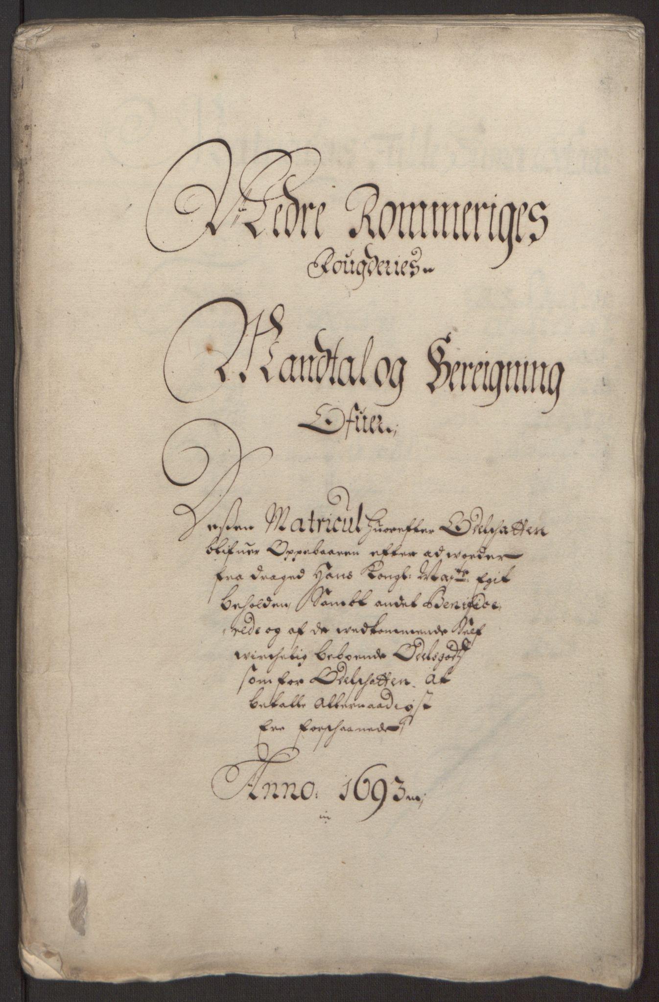 RA, Rentekammeret inntil 1814, Reviderte regnskaper, Fogderegnskap, R11/L0578: Fogderegnskap Nedre Romerike, 1693, s. 128
