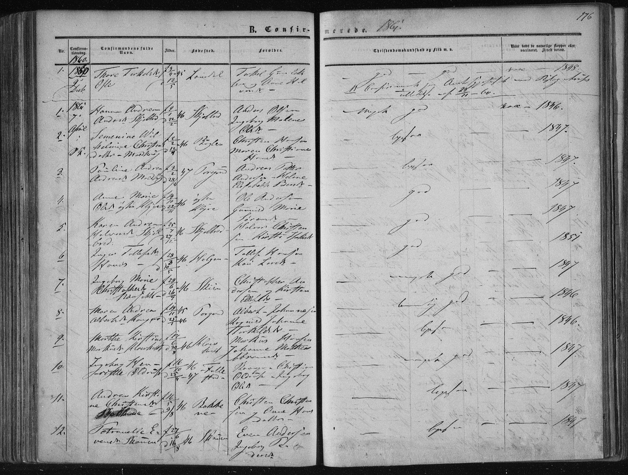 SAKO, Solum kirkebøker, F/Fa/L0007: Ministerialbok nr. I 7, 1856-1864, s. 176