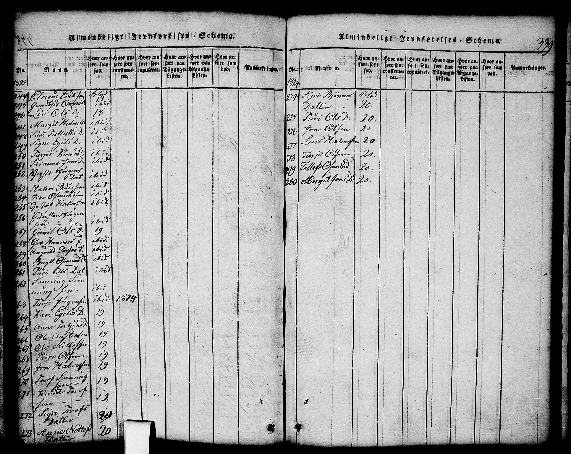 SAKO, Nissedal kirkebøker, G/Gb/L0001: Klokkerbok nr. II 1, 1814-1862, s. 339