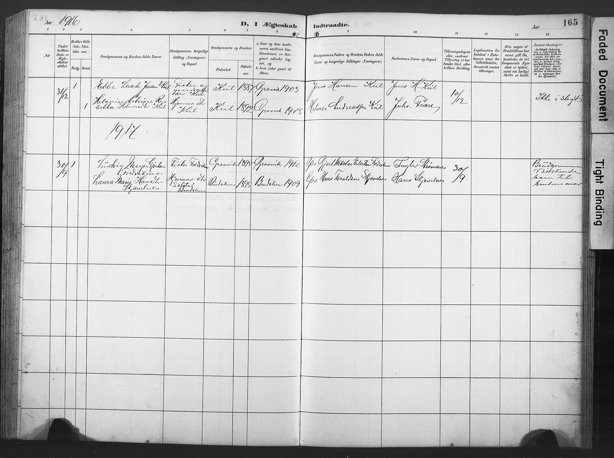 SAT, Ministerialprotokoller, klokkerbøker og fødselsregistre - Nord-Trøndelag, 789/L0706: Klokkerbok nr. 789C01, 1888-1931, s. 165