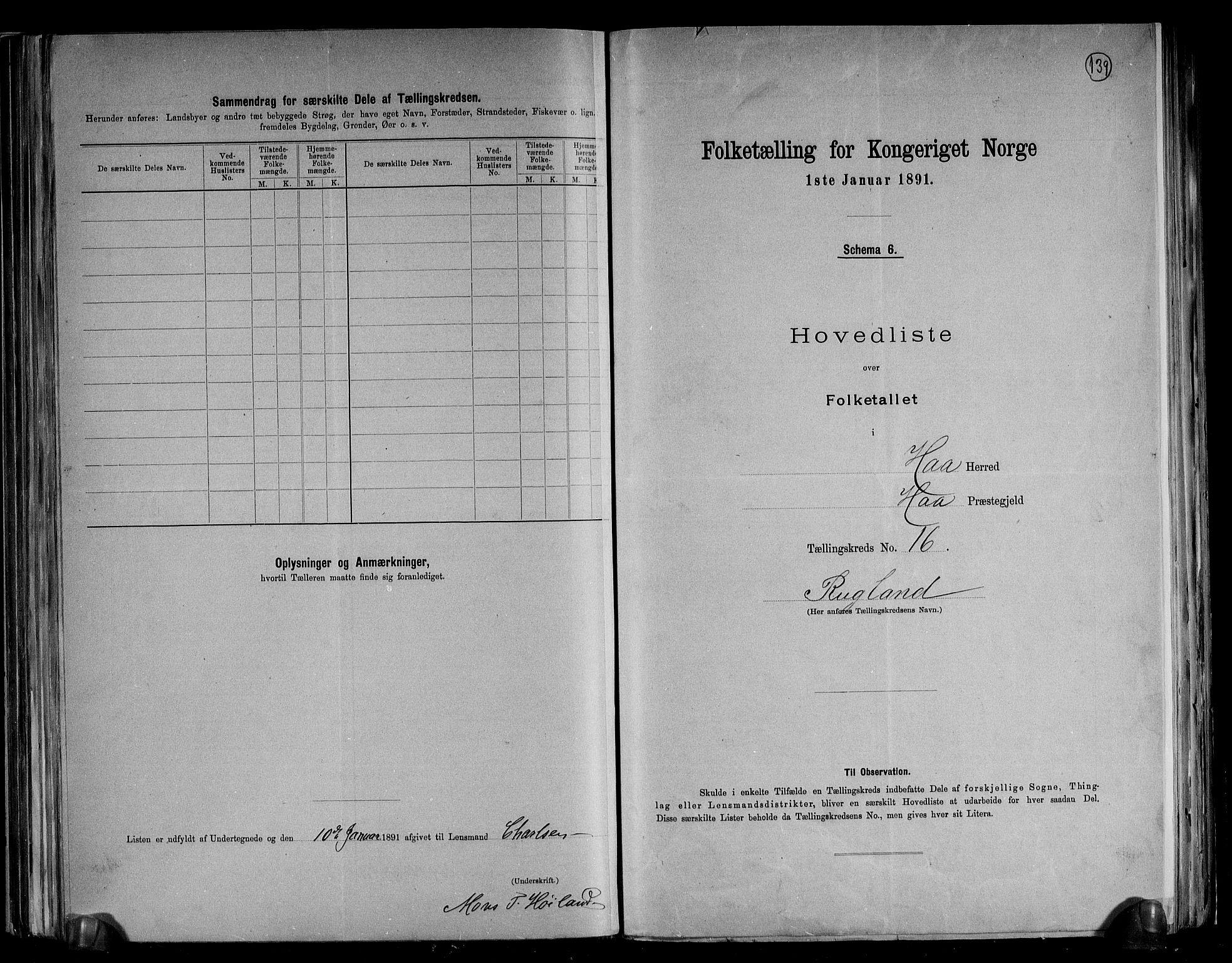 RA, Folketelling 1891 for 1119 Hå herred, 1891, s. 36