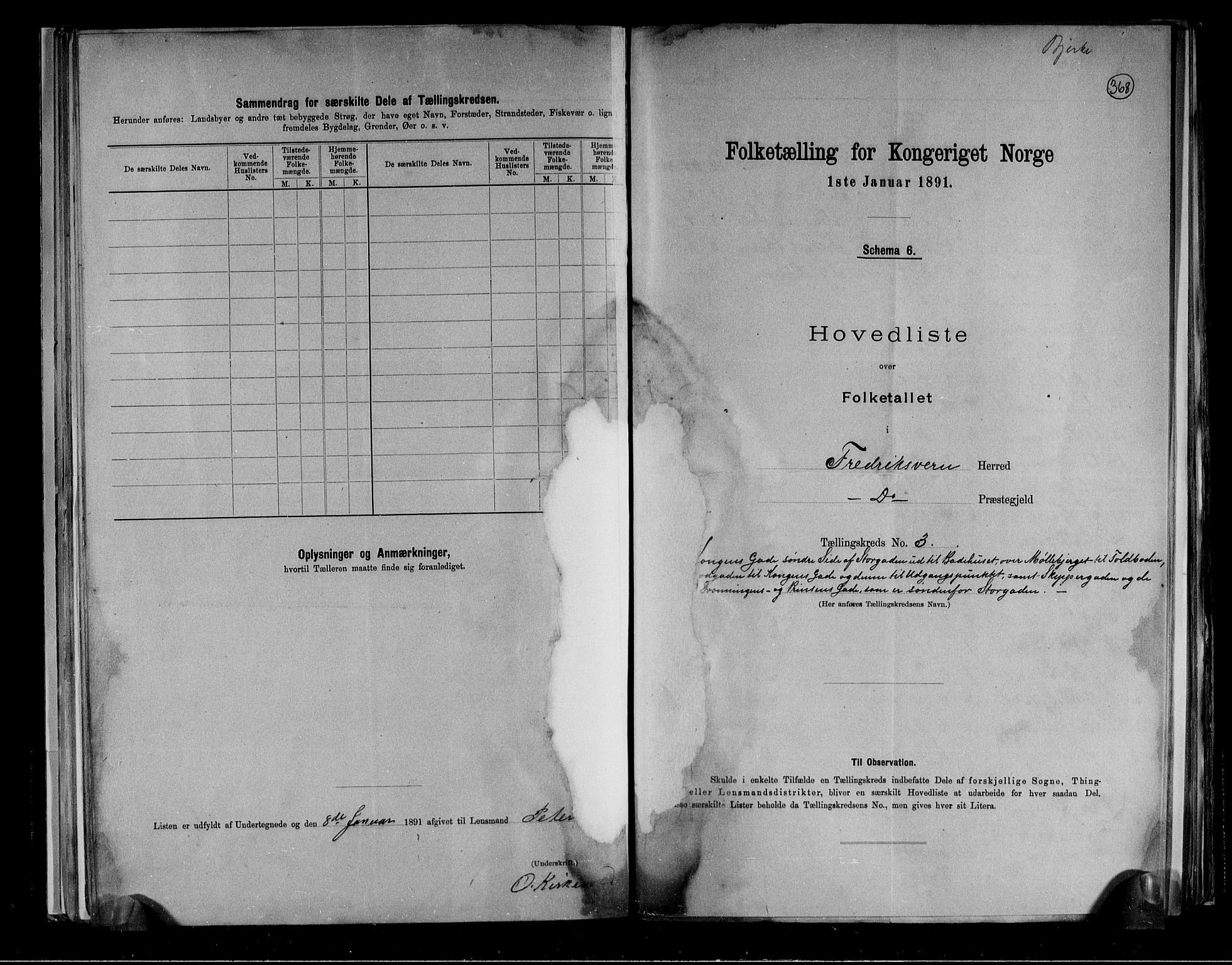 RA, Folketelling 1891 for 0798 Fredriksvern herred, 1891, s. 9