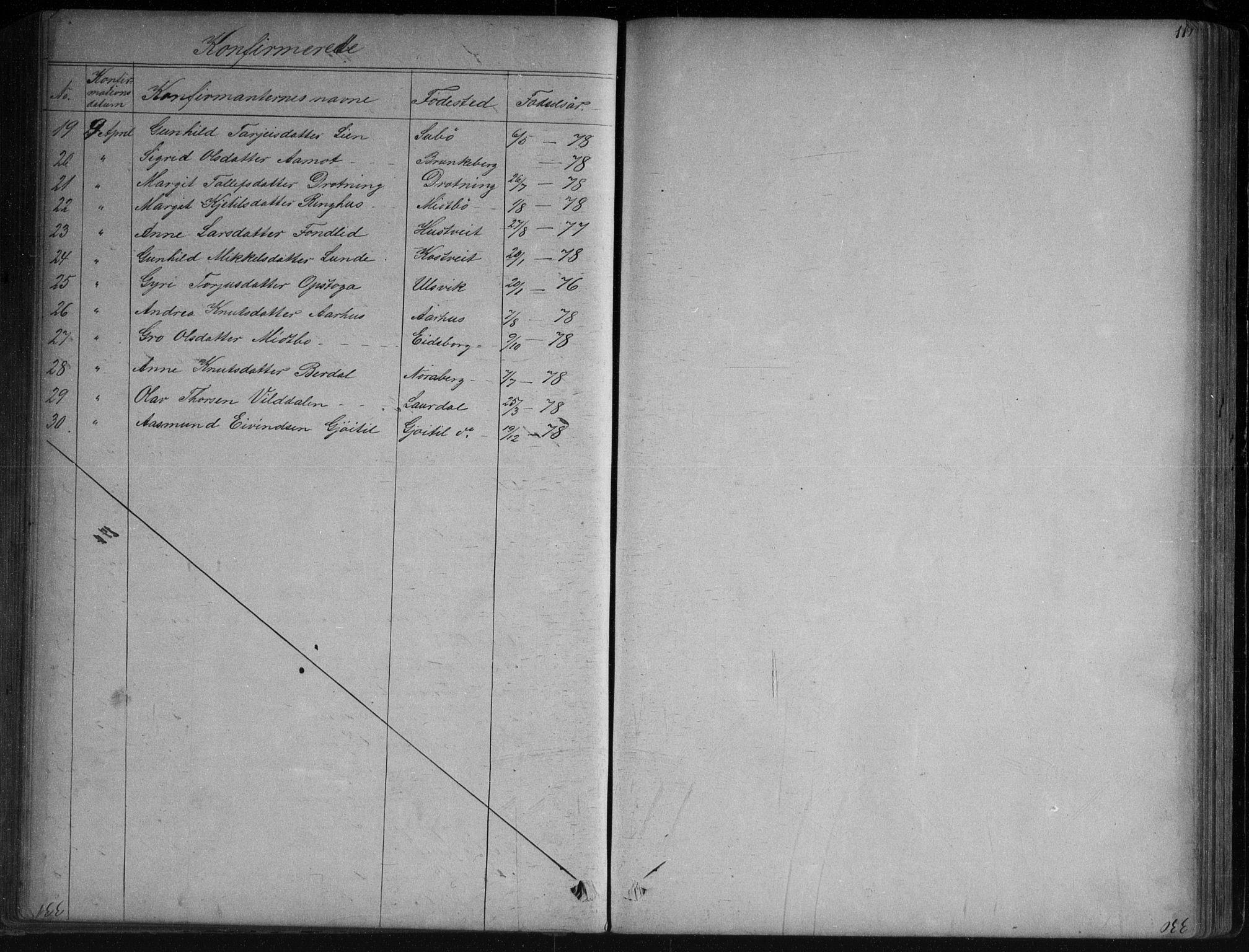 SAKO, Vinje kirkebøker, G/Ga/L0002: Klokkerbok nr. I 2, 1849-1893, s. 119