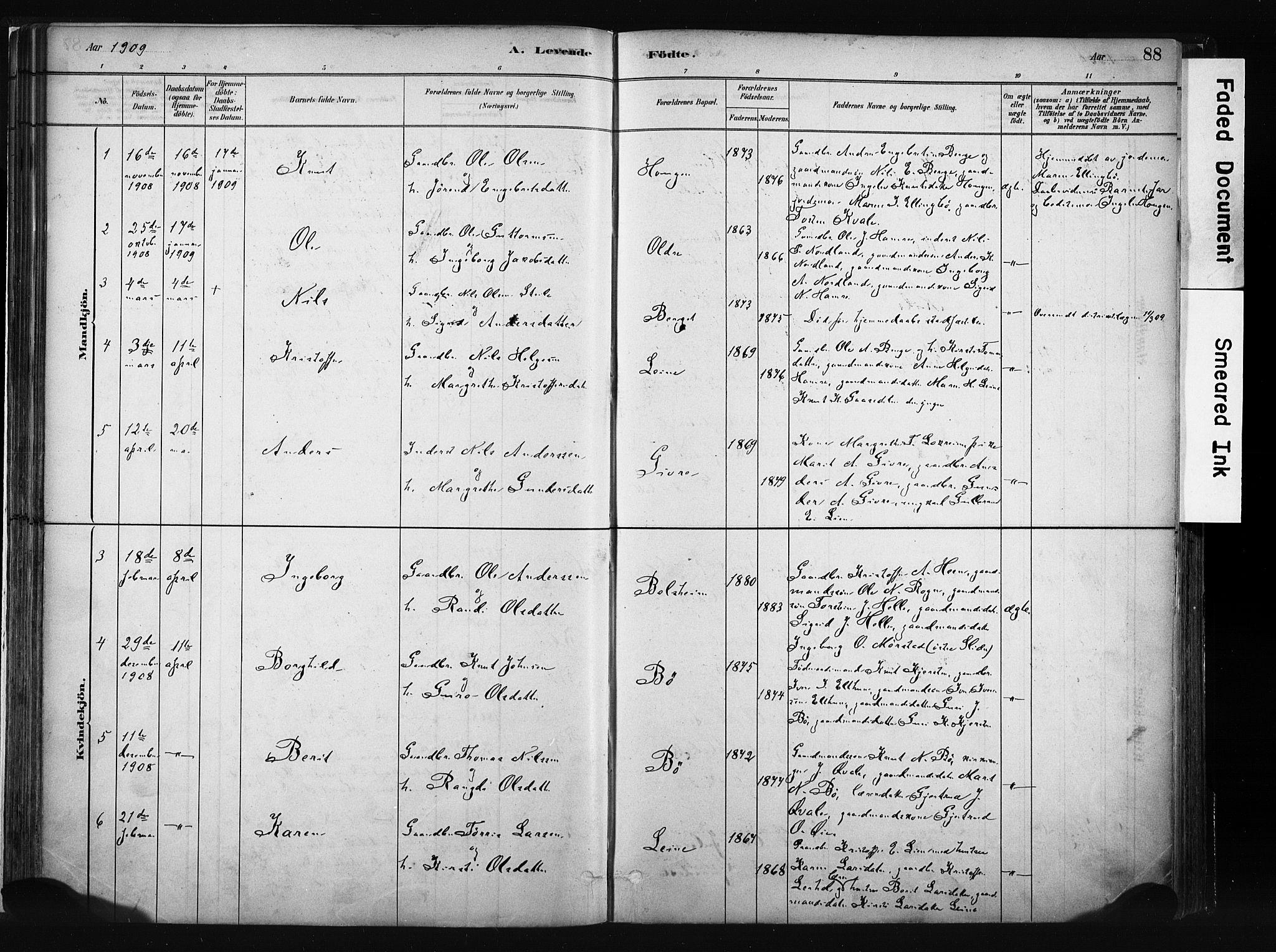 SAH, Vang prestekontor, Valdres, Ministerialbok nr. 8, 1882-1910, s. 88