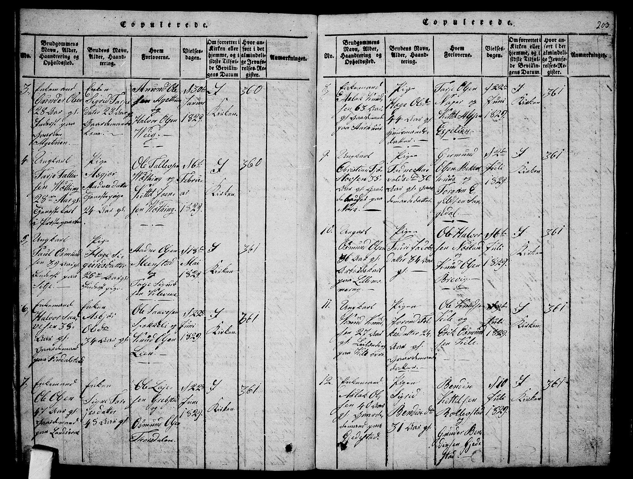 SAKO, Fyresdal kirkebøker, G/Ga/L0001: Klokkerbok nr. I 1, 1816-1840, s. 203
