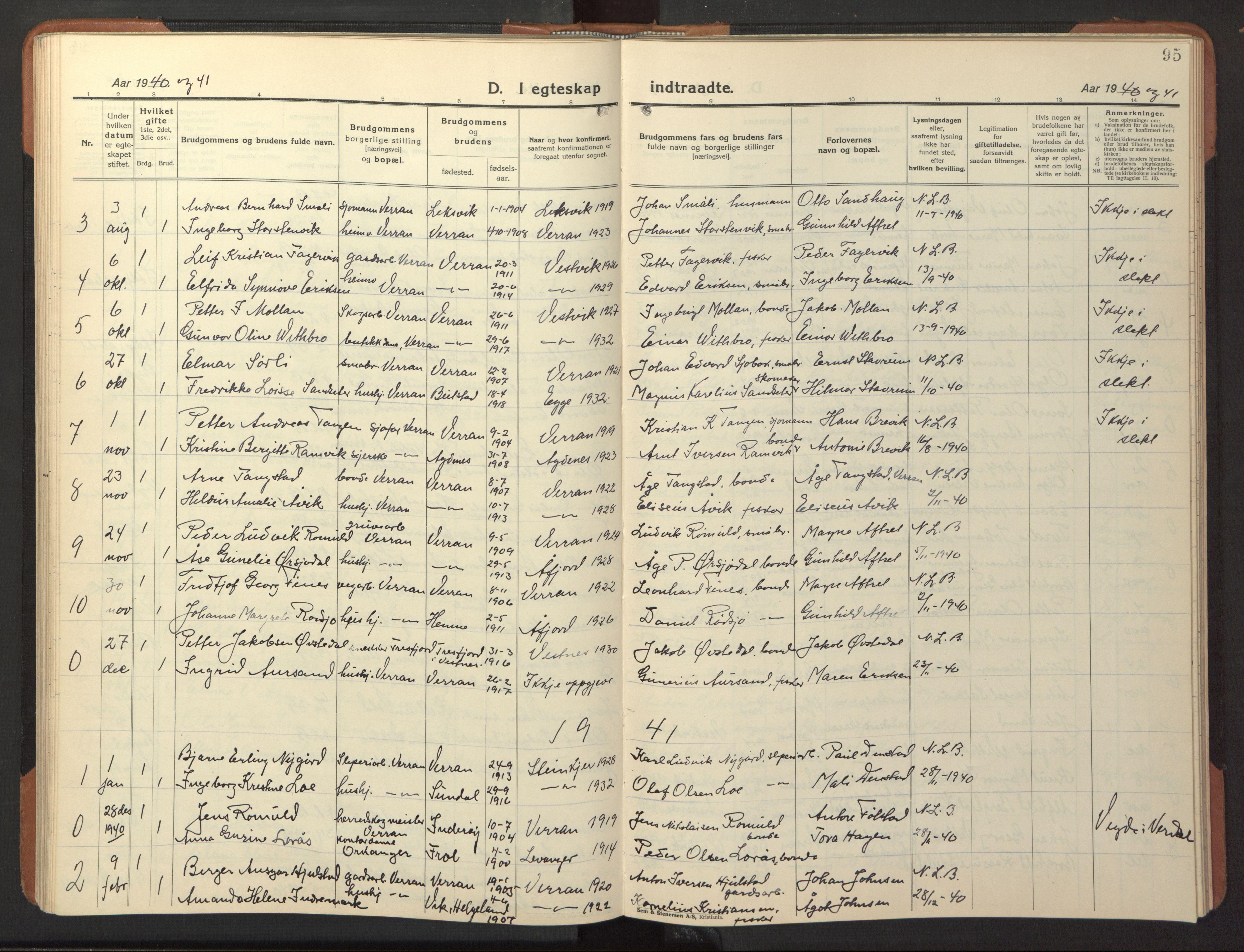 SAT, Ministerialprotokoller, klokkerbøker og fødselsregistre - Nord-Trøndelag, 744/L0425: Klokkerbok nr. 744C04, 1924-1947, s. 95