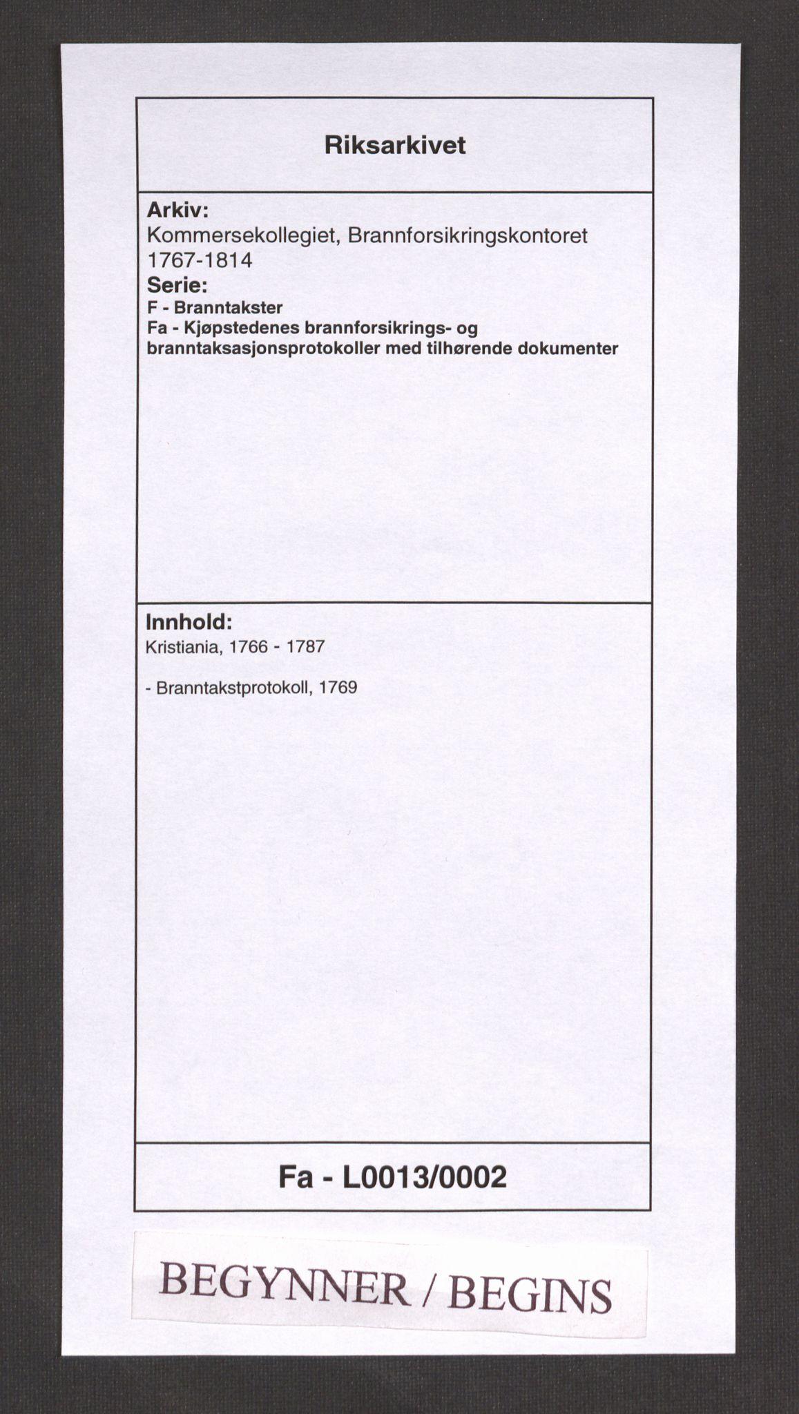 RA, Kommersekollegiet, Brannforsikringskontoret 1767-1814, F/Fa/L0013: Kristiania, 1769