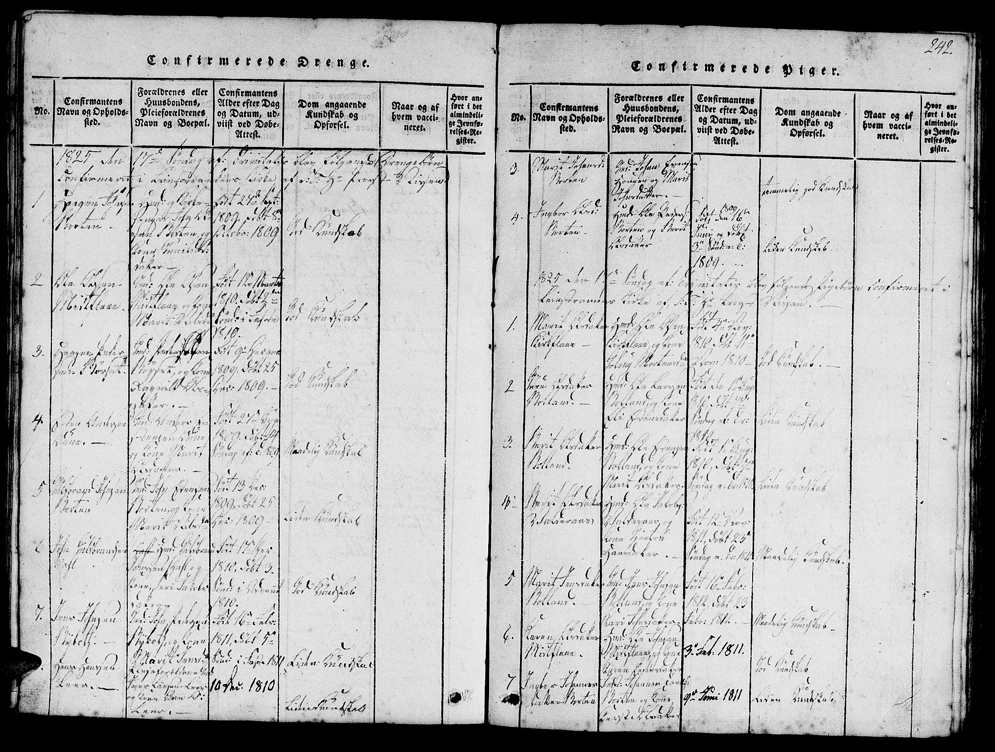 SAT, Ministerialprotokoller, klokkerbøker og fødselsregistre - Sør-Trøndelag, 693/L1121: Klokkerbok nr. 693C02, 1816-1869, s. 242