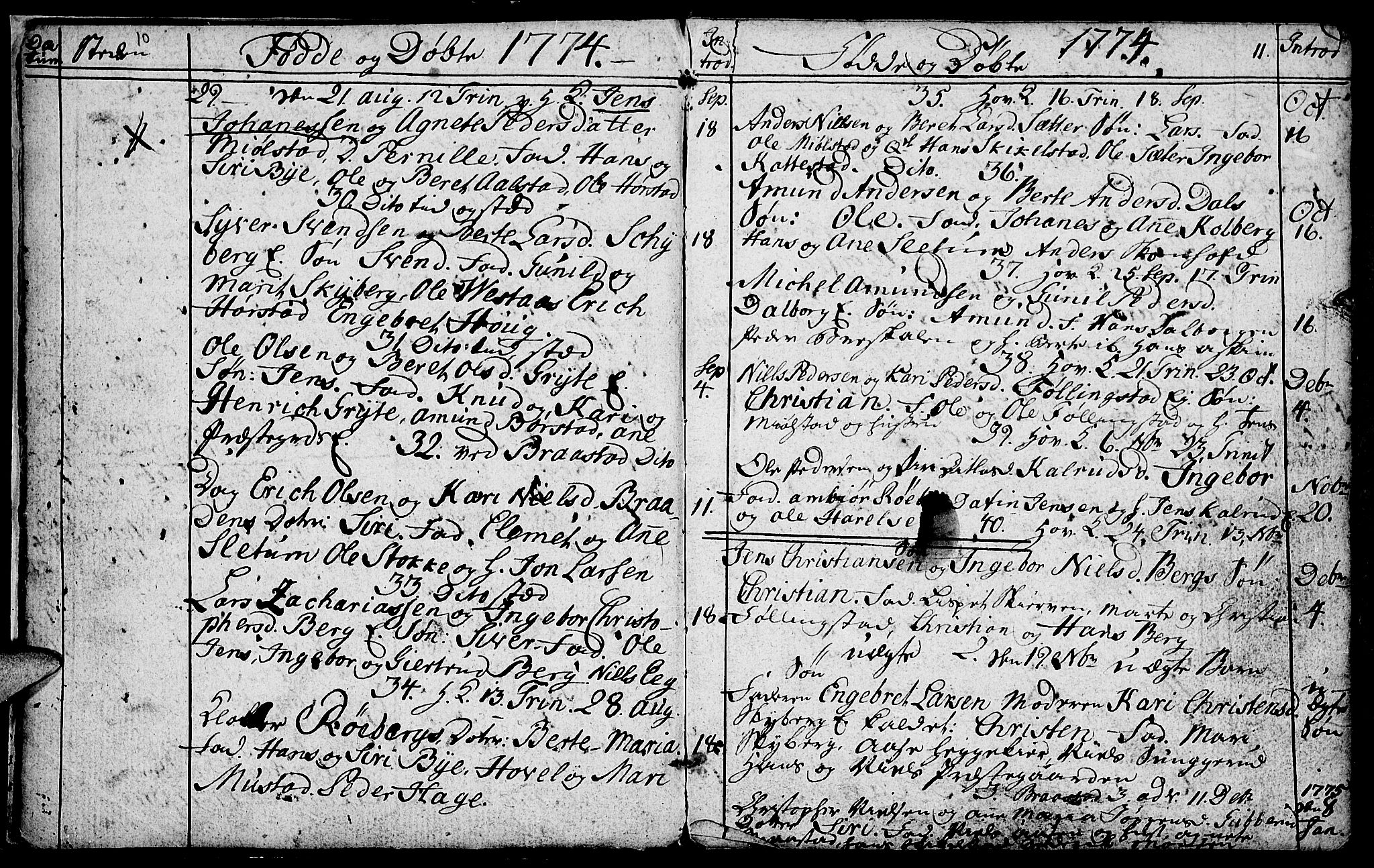SAH, Vardal prestekontor, H/Ha/Hab/L0001: Klokkerbok nr. 1, 1771-1790, s. 10-11