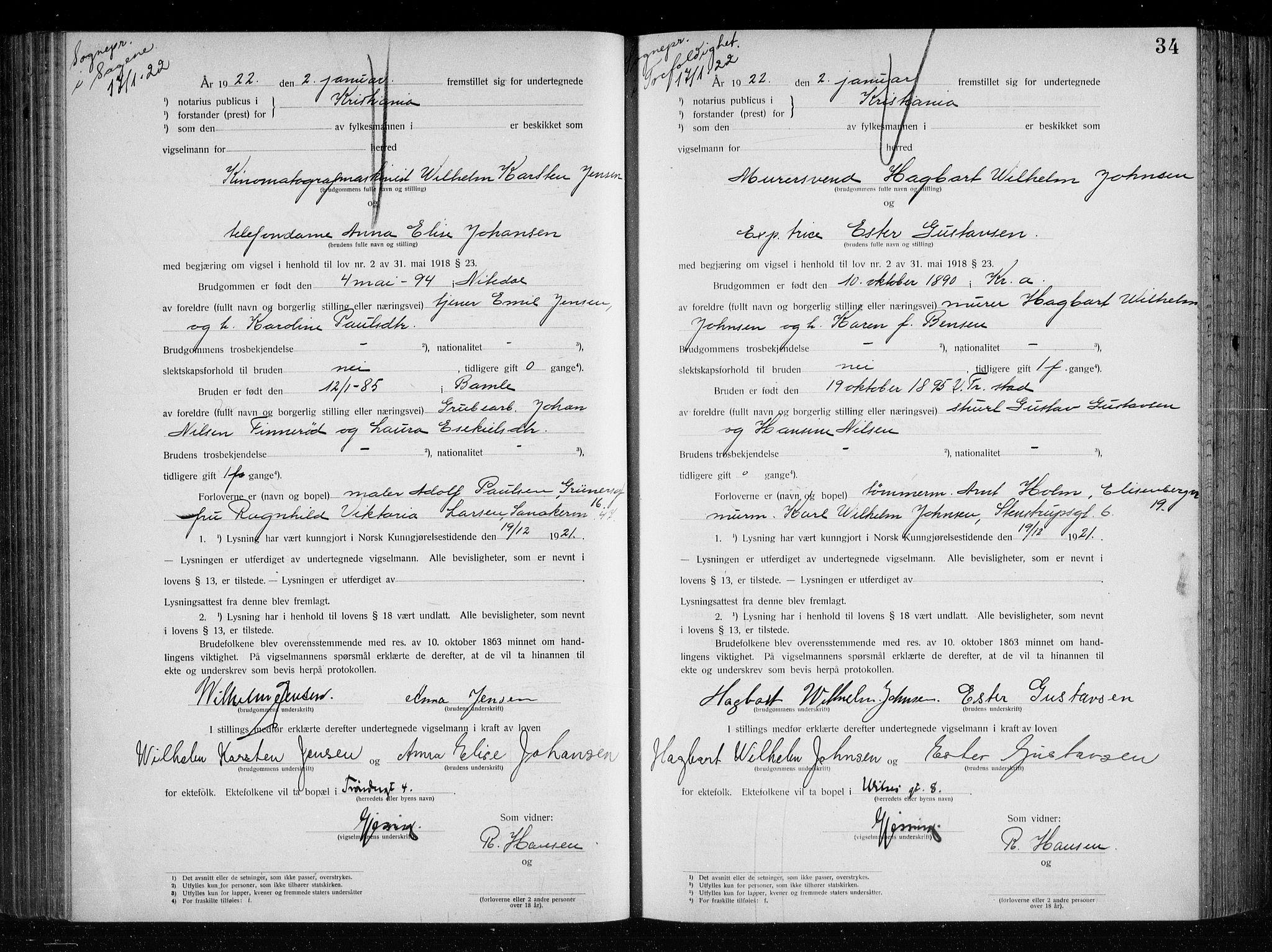SAO, Oslo byfogd avd. I, L/Lb/Lbb/L0015: Notarialprotokoll, rekke II: Vigsler, 1921-1922, s. 33b-34a