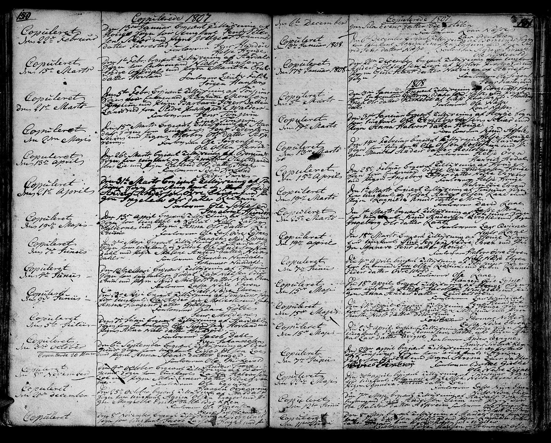 SAB, Lærdal sokneprestembete, Ministerialbok nr. A 4, 1805-1821, s. 150-151