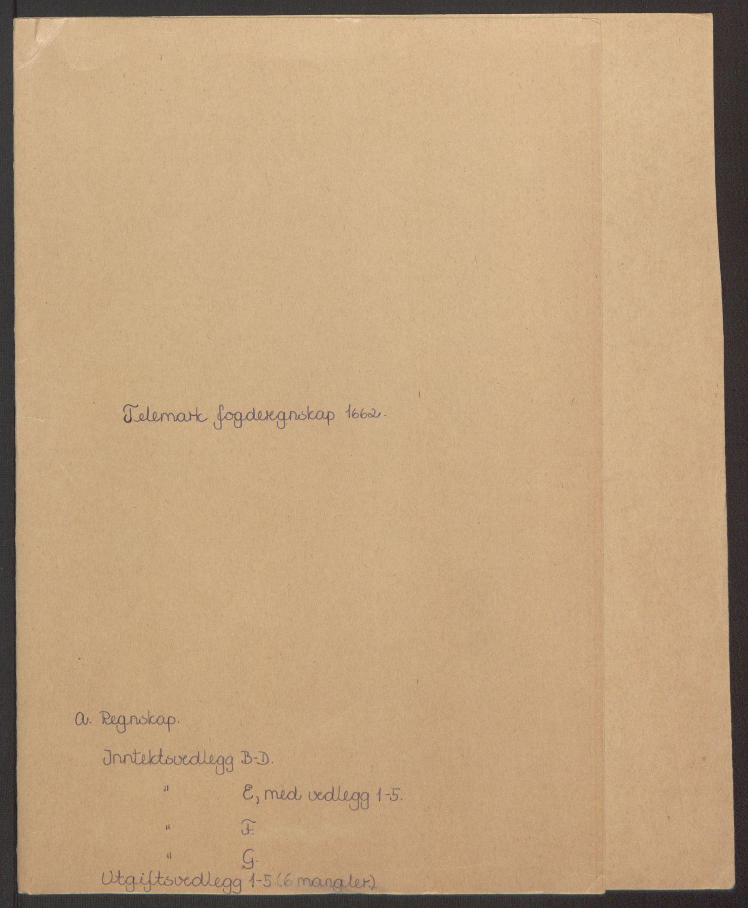 RA, Rentekammeret inntil 1814, Reviderte regnskaper, Fogderegnskap, R35/L2054: Fogderegnskap Øvre og Nedre Telemark, 1662-1663, s. 2