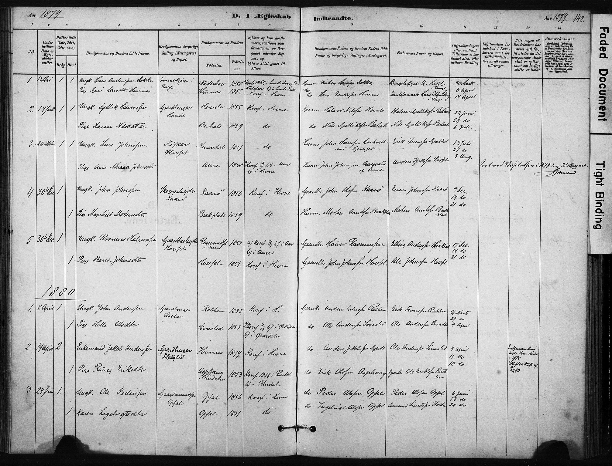 SAT, Ministerialprotokoller, klokkerbøker og fødselsregistre - Sør-Trøndelag, 631/L0512: Ministerialbok nr. 631A01, 1879-1912, s. 142