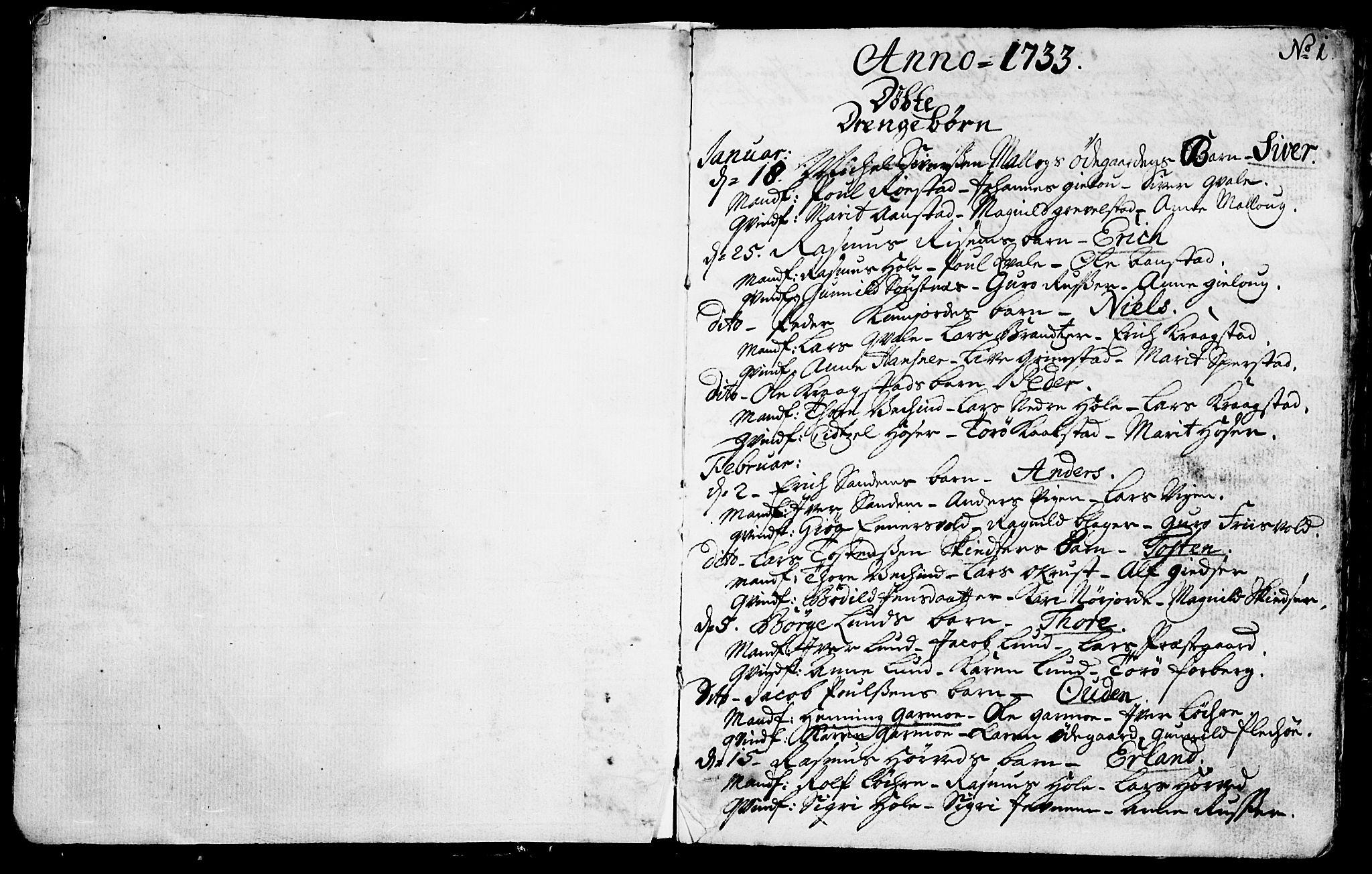 SAH, Lom prestekontor, K/L0001: Ministerialbok nr. 1, 1733-1748, s. 1