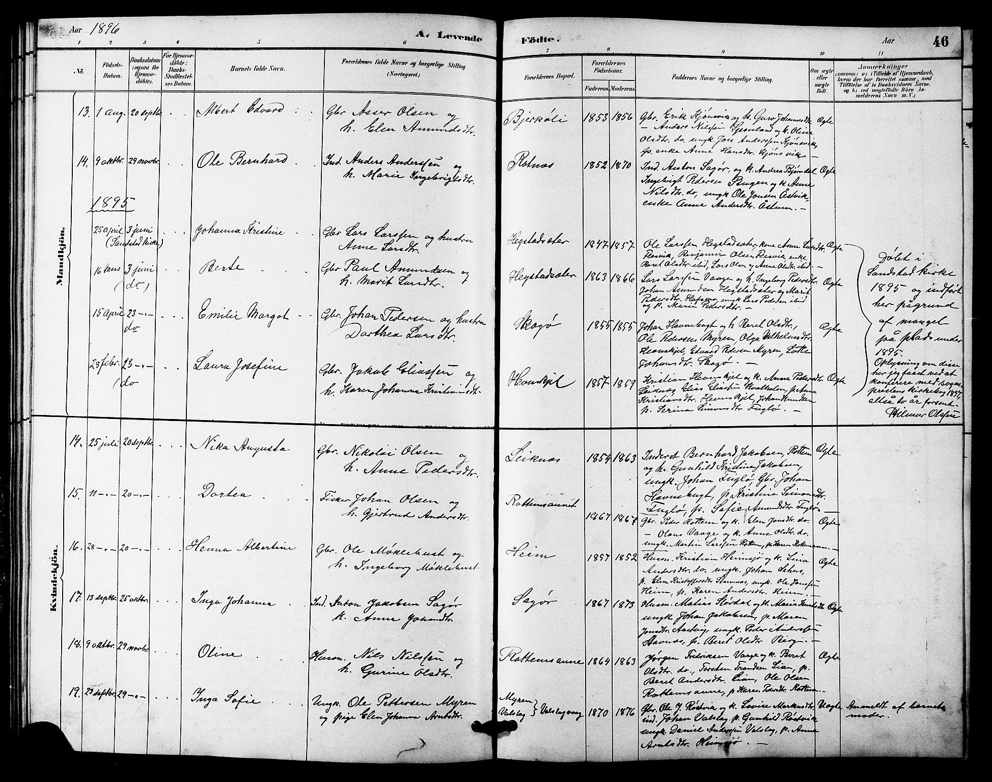 SAT, Ministerialprotokoller, klokkerbøker og fødselsregistre - Sør-Trøndelag, 633/L0519: Klokkerbok nr. 633C01, 1884-1905, s. 46